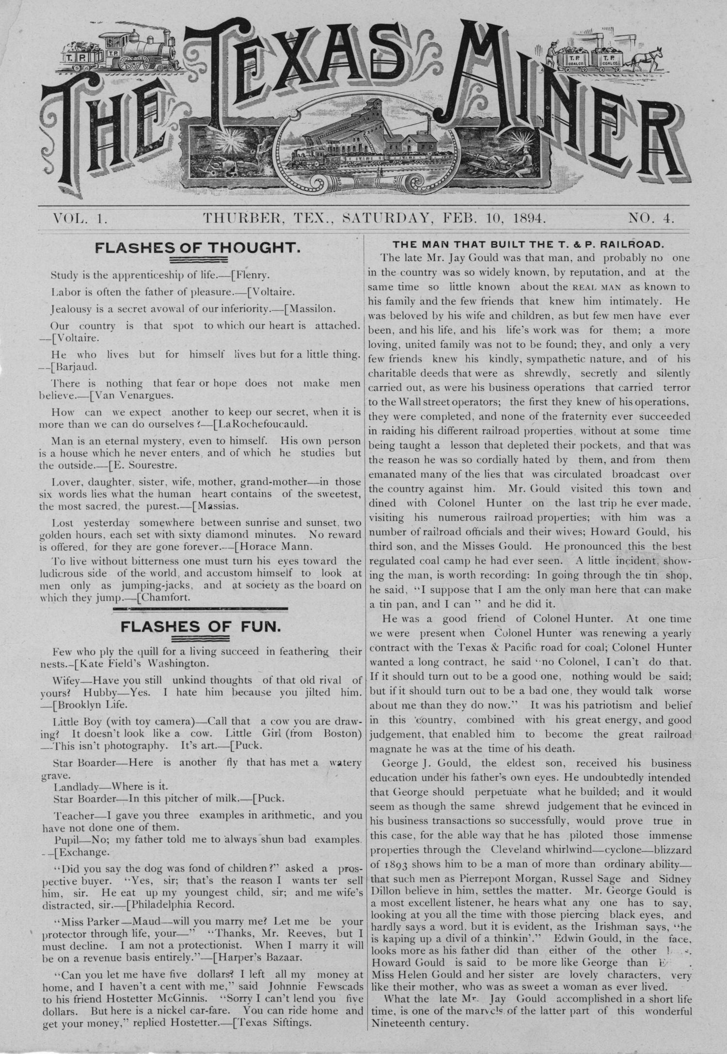 The Texas Miner, Volume 1, Number 4, February 10, 1894                                                                                                      1
