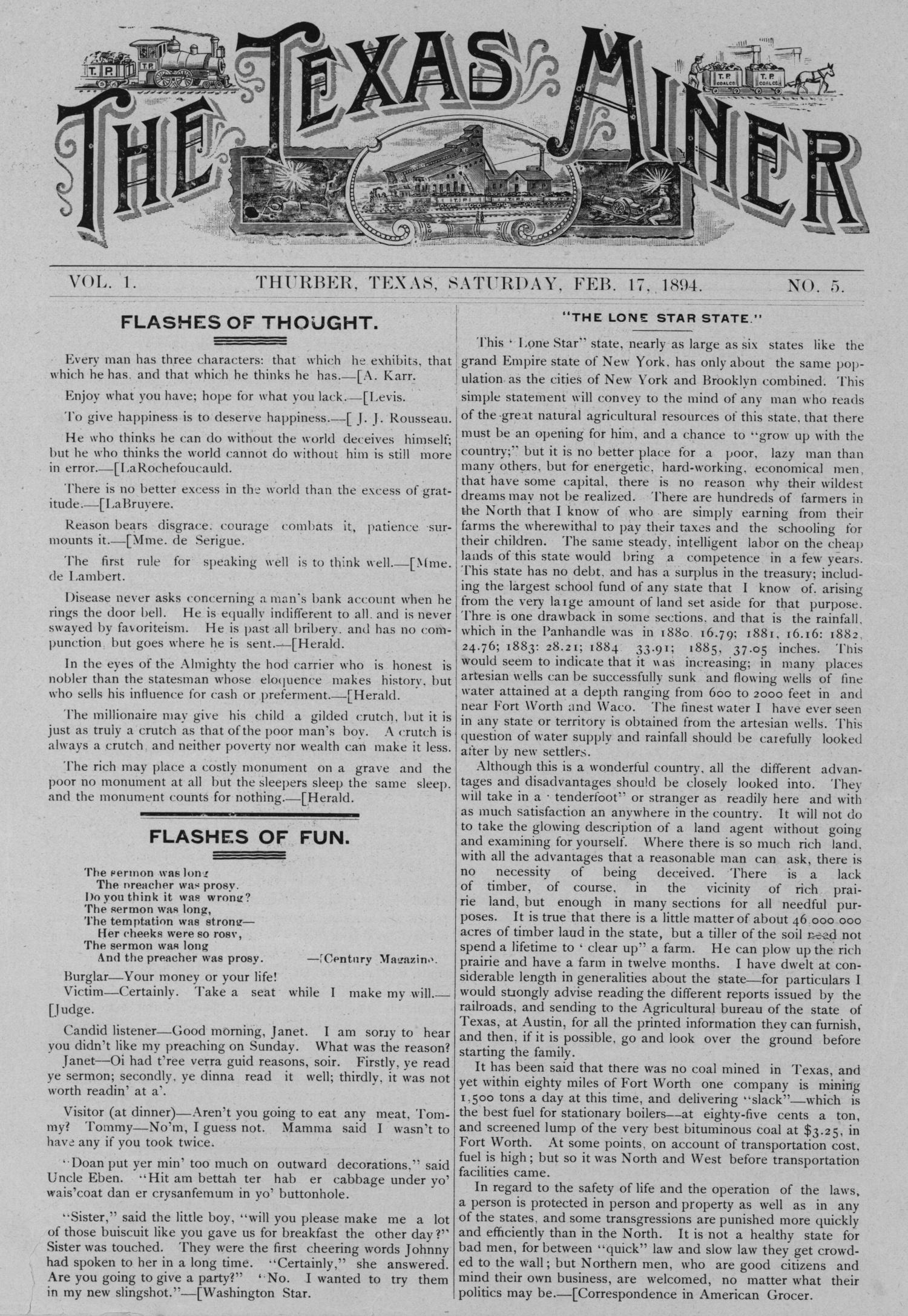 The Texas Miner, Volume 1, Number 5, February 17, 1894                                                                                                      1