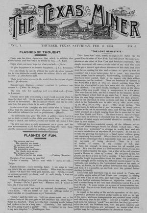 Primary view of object titled 'The Texas Miner, Volume 1, Number 5, February 17, 1894'.