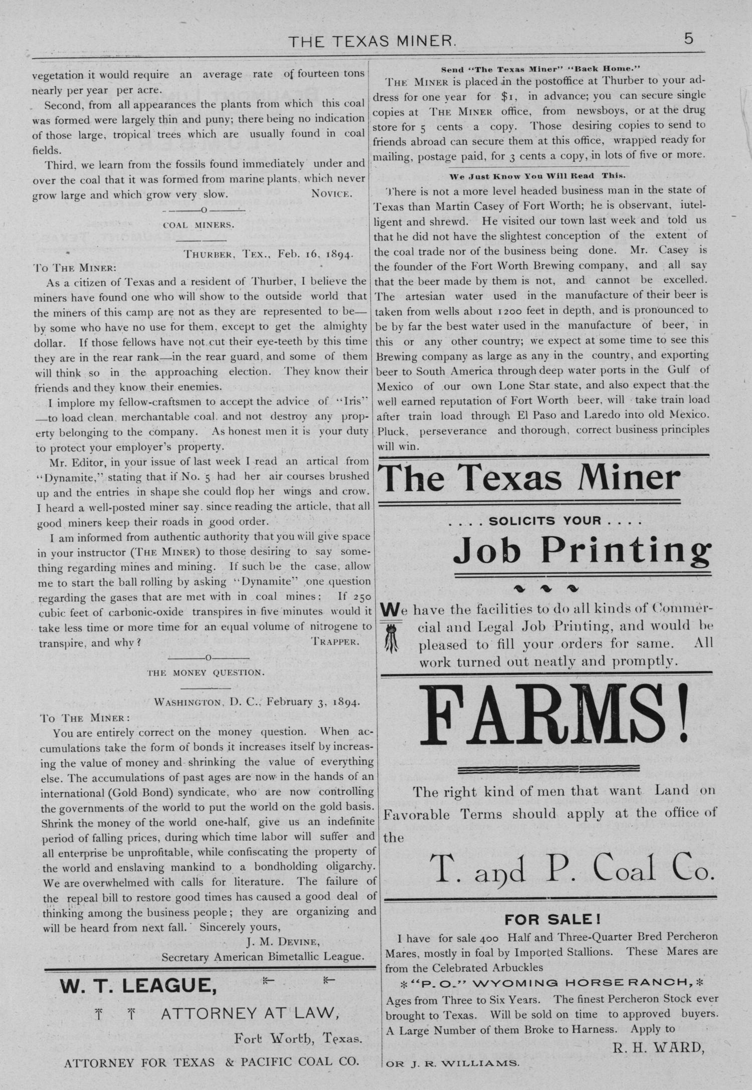 The Texas Miner, Volume 1, Number 5, February 17, 1894                                                                                                      5