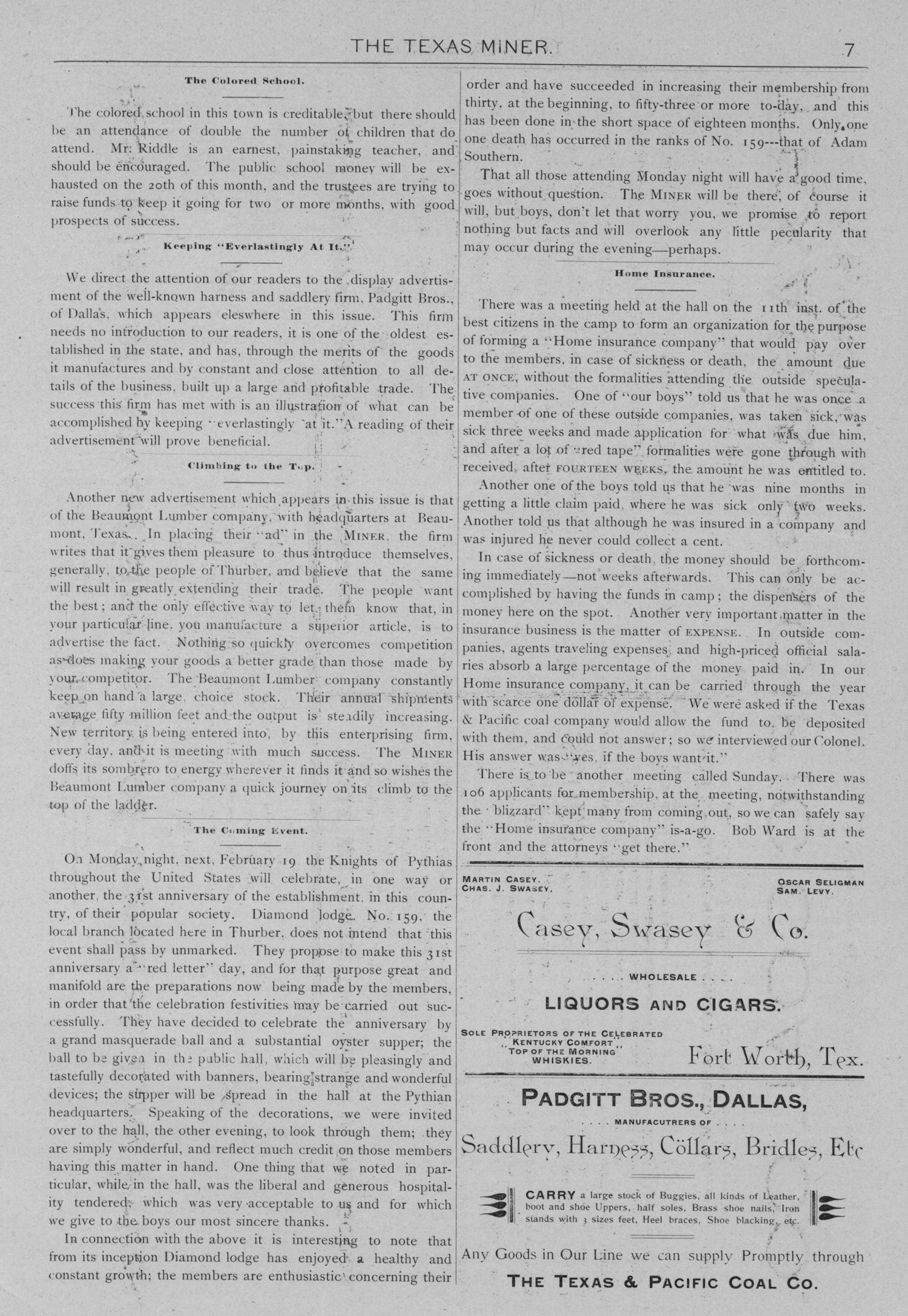 The Texas Miner, Volume 1, Number 5, February 17, 1894                                                                                                      7