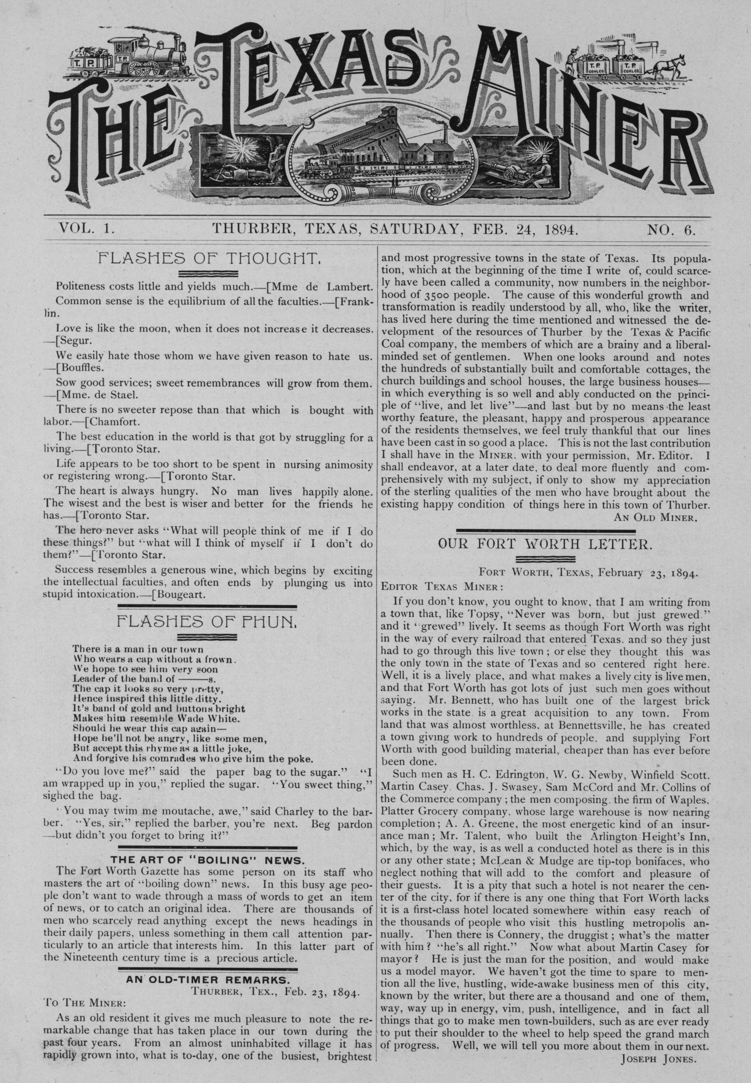 The Texas Miner, Volume 1, Number 6, February 24, 1894                                                                                                      1