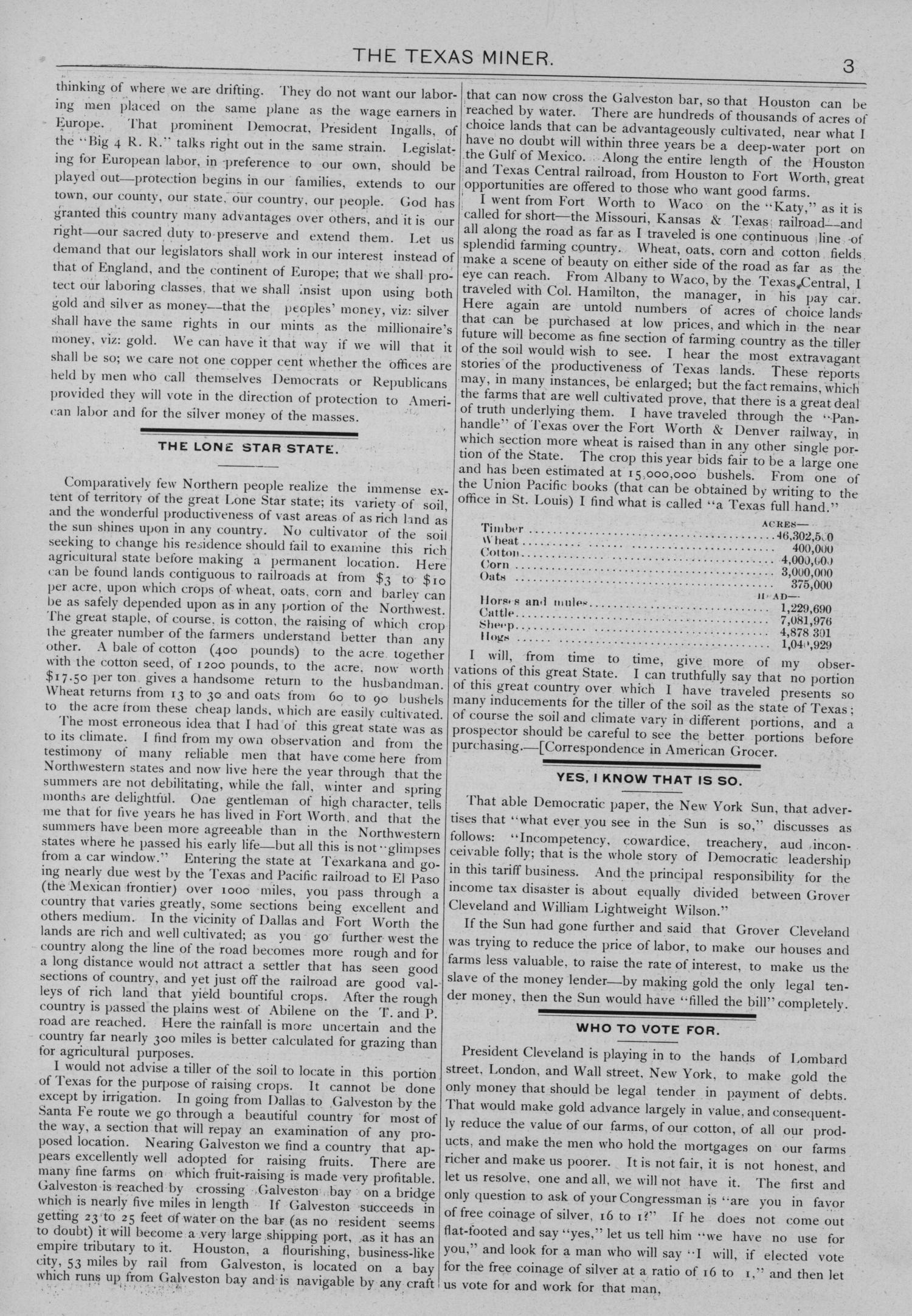 The Texas Miner, Volume 1, Number 6, February 24, 1894                                                                                                      3