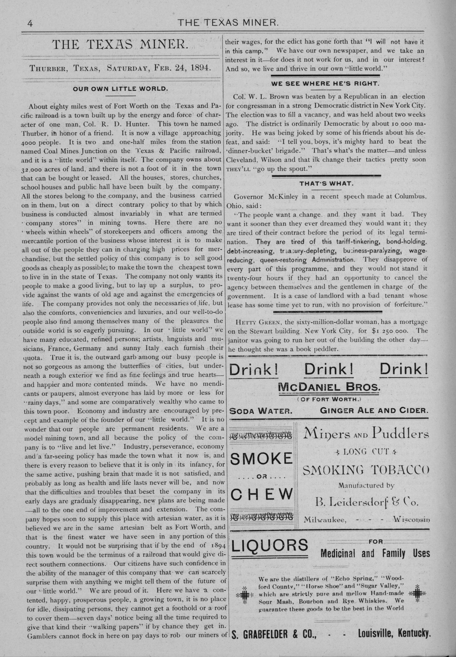 The Texas Miner, Volume 1, Number 6, February 24, 1894                                                                                                      4