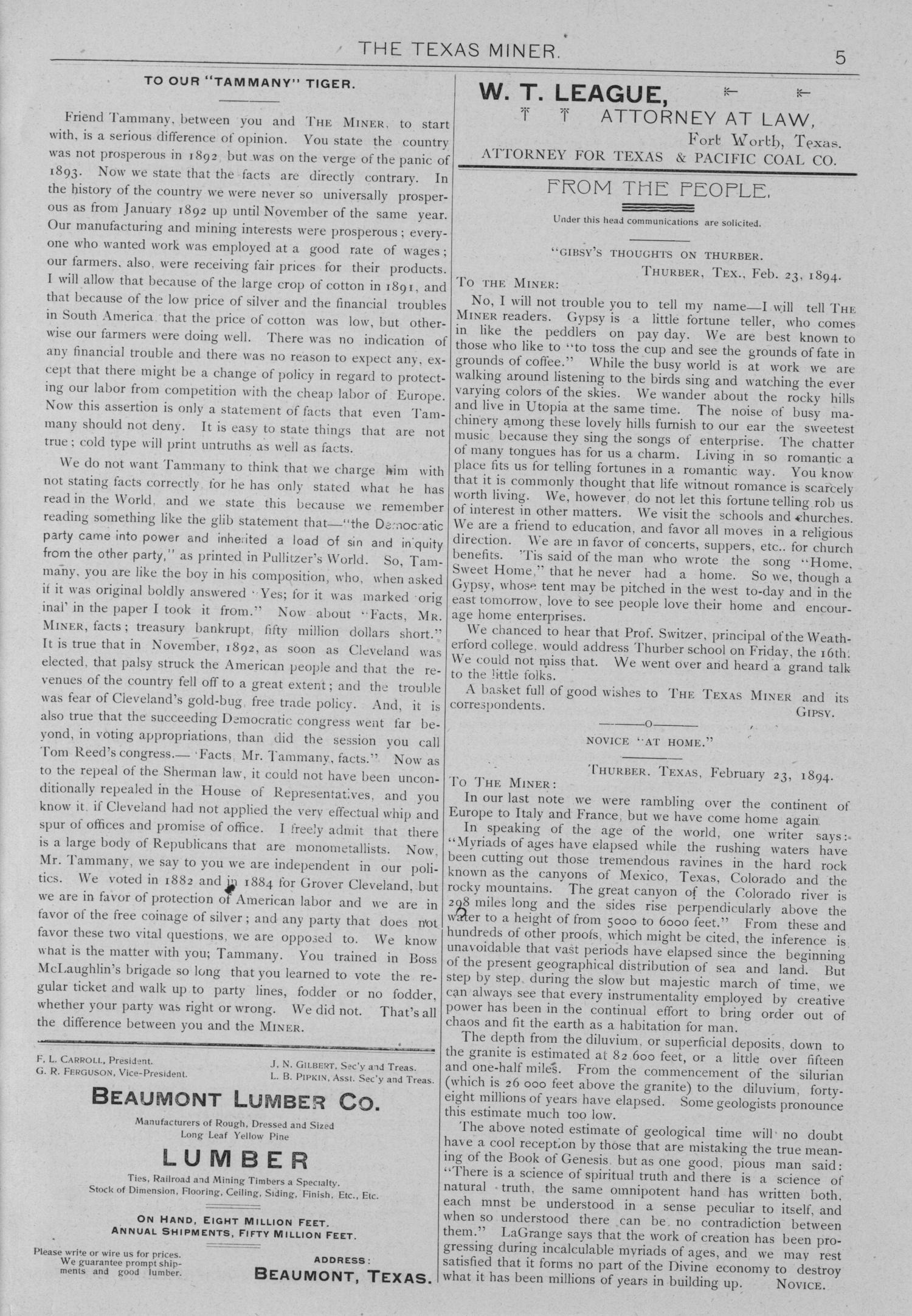 The Texas Miner, Volume 1, Number 6, February 24, 1894                                                                                                      5