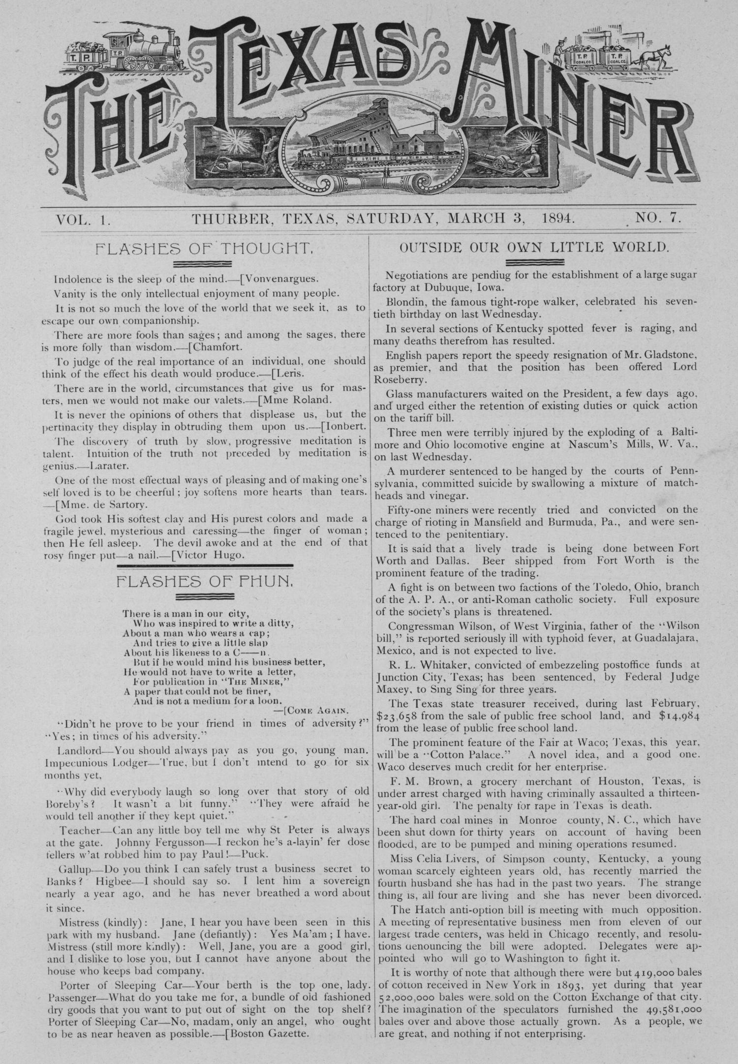 The Texas Miner, Volume 1, Number 7, March 3, 1894                                                                                                      1