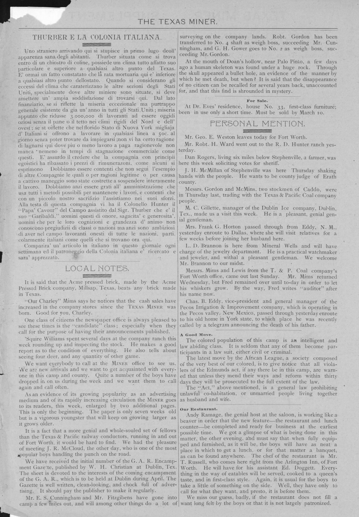 The Texas Miner, Volume 1, Number 7, March 3, 1894                                                                                                      None