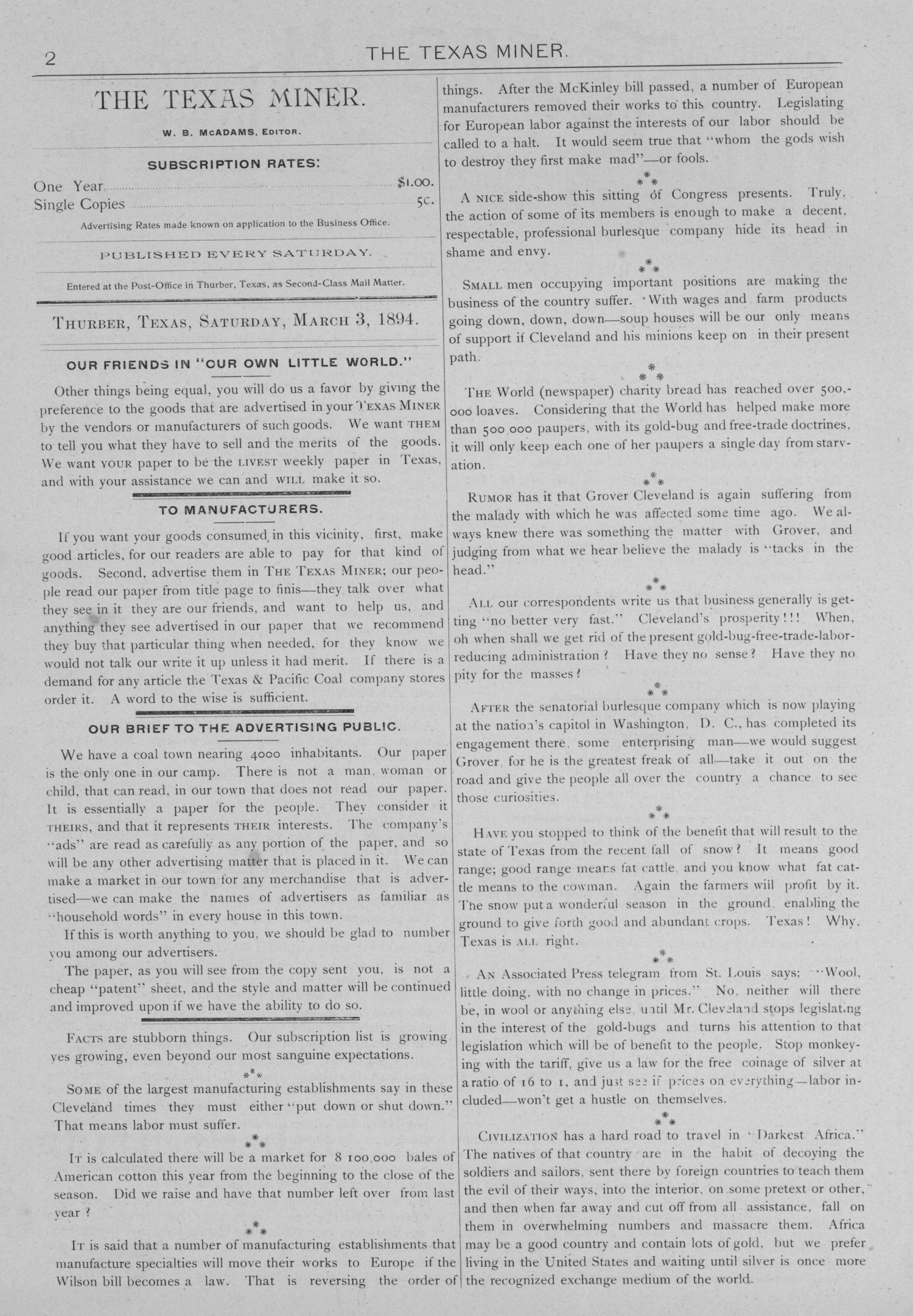 The Texas Miner, Volume 1, Number 7, March 3, 1894                                                                                                      2