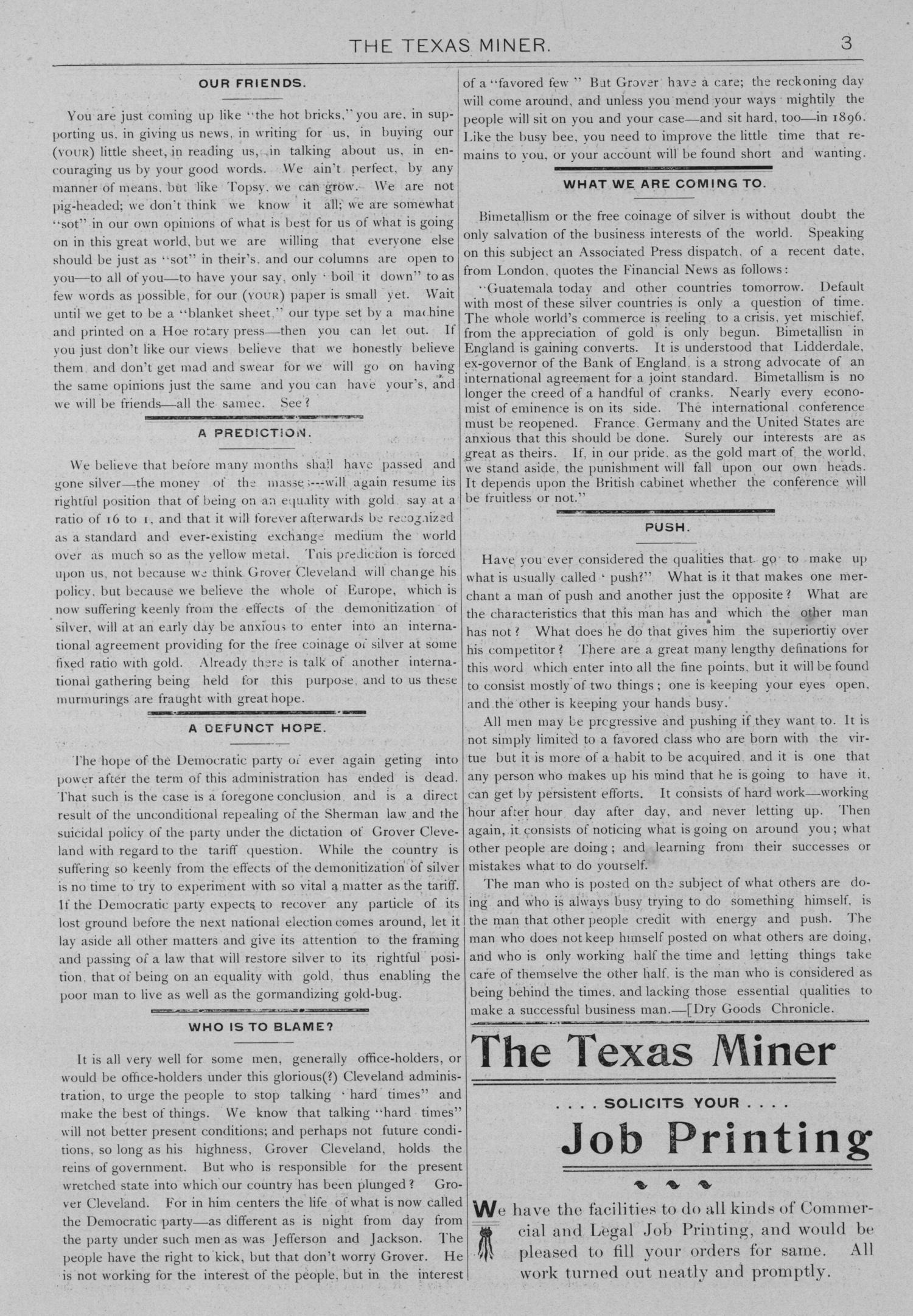 The Texas Miner, Volume 1, Number 7, March 3, 1894                                                                                                      3