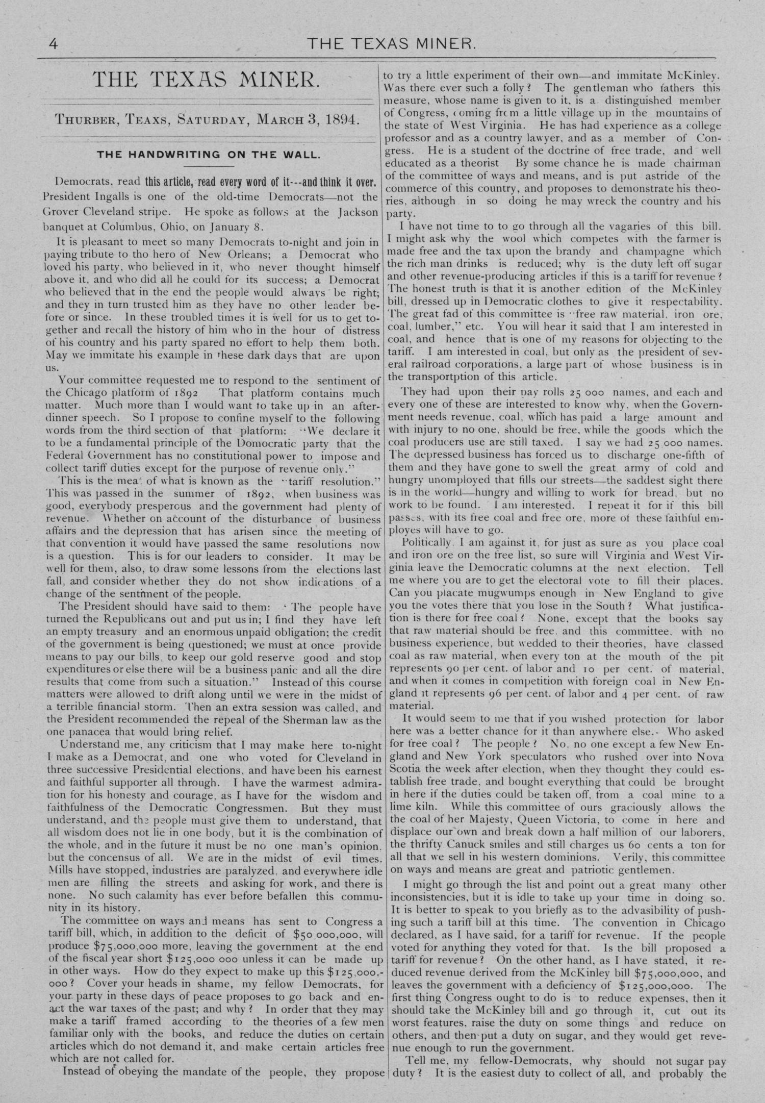 The Texas Miner, Volume 1, Number 7, March 3, 1894                                                                                                      4
