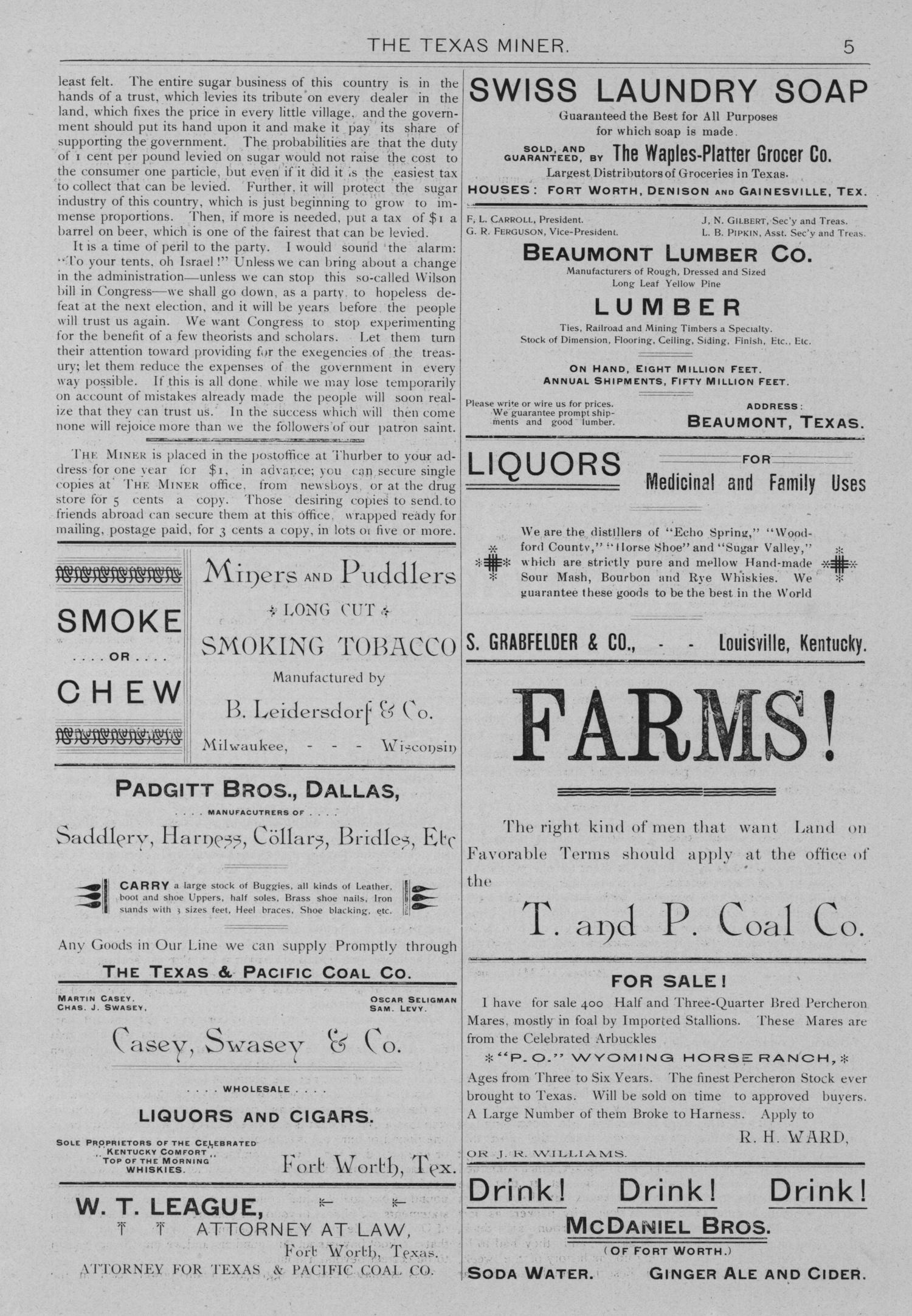 The Texas Miner, Volume 1, Number 7, March 3, 1894                                                                                                      5