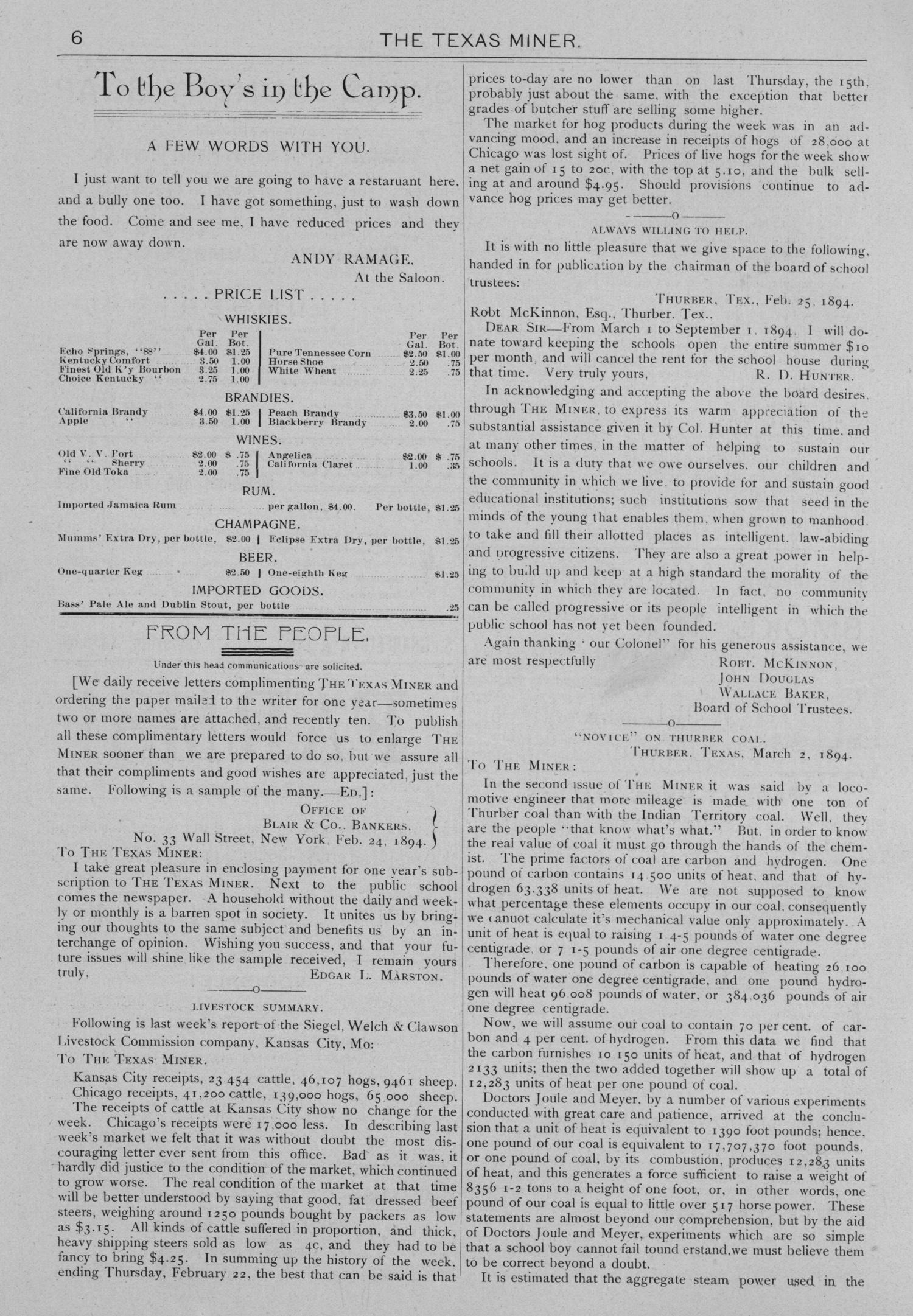 The Texas Miner, Volume 1, Number 7, March 3, 1894                                                                                                      6