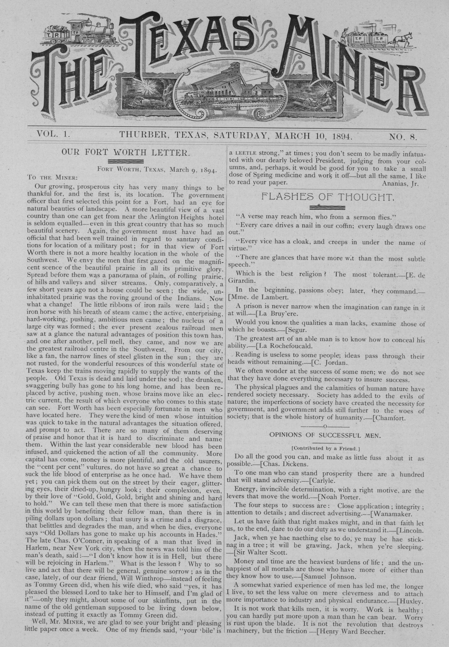 The Texas Miner, Volume 1, Number 8, March 10, 1894                                                                                                      1