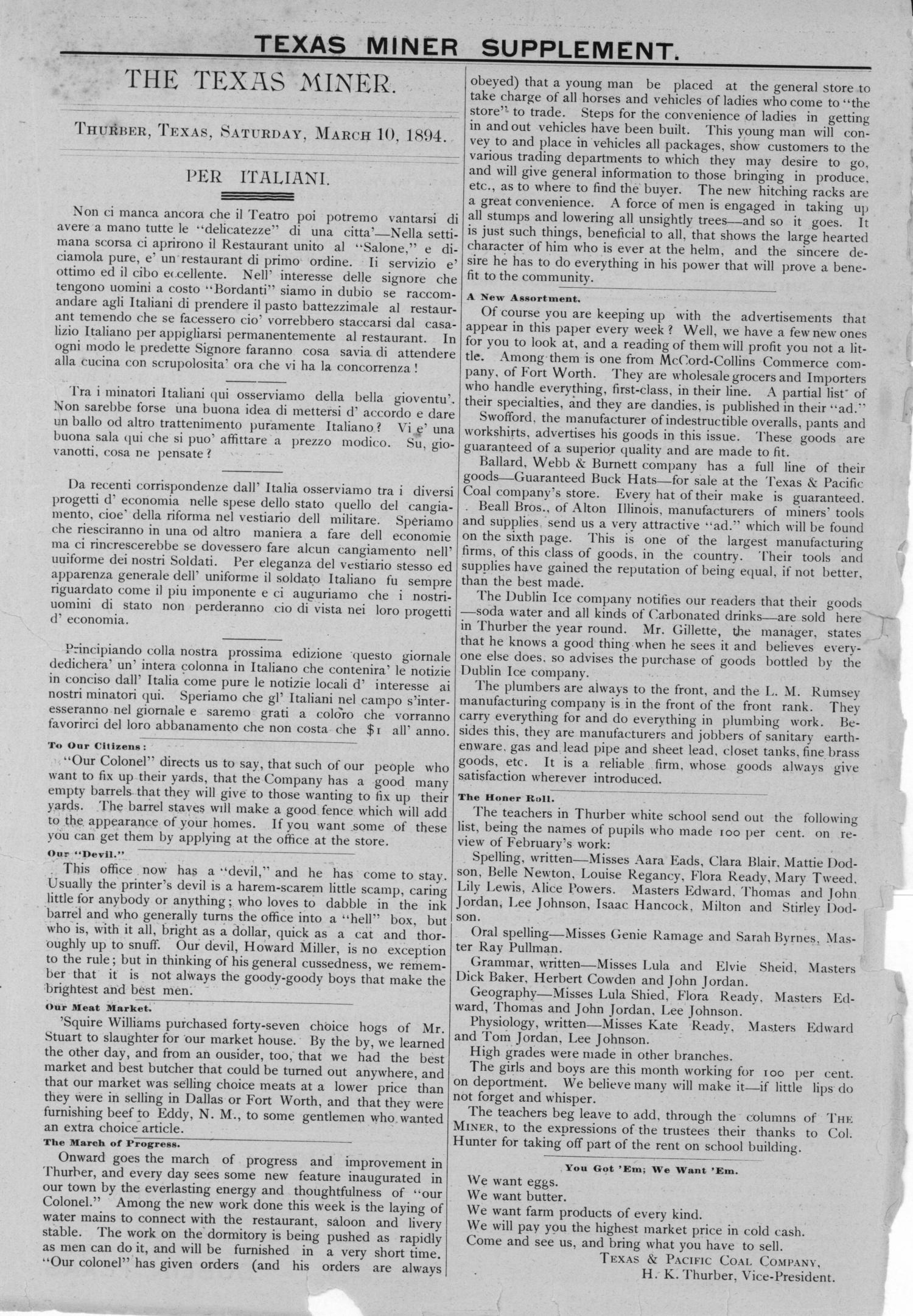 The Texas Miner, Volume 1, Number 8, March 10, 1894                                                                                                      None