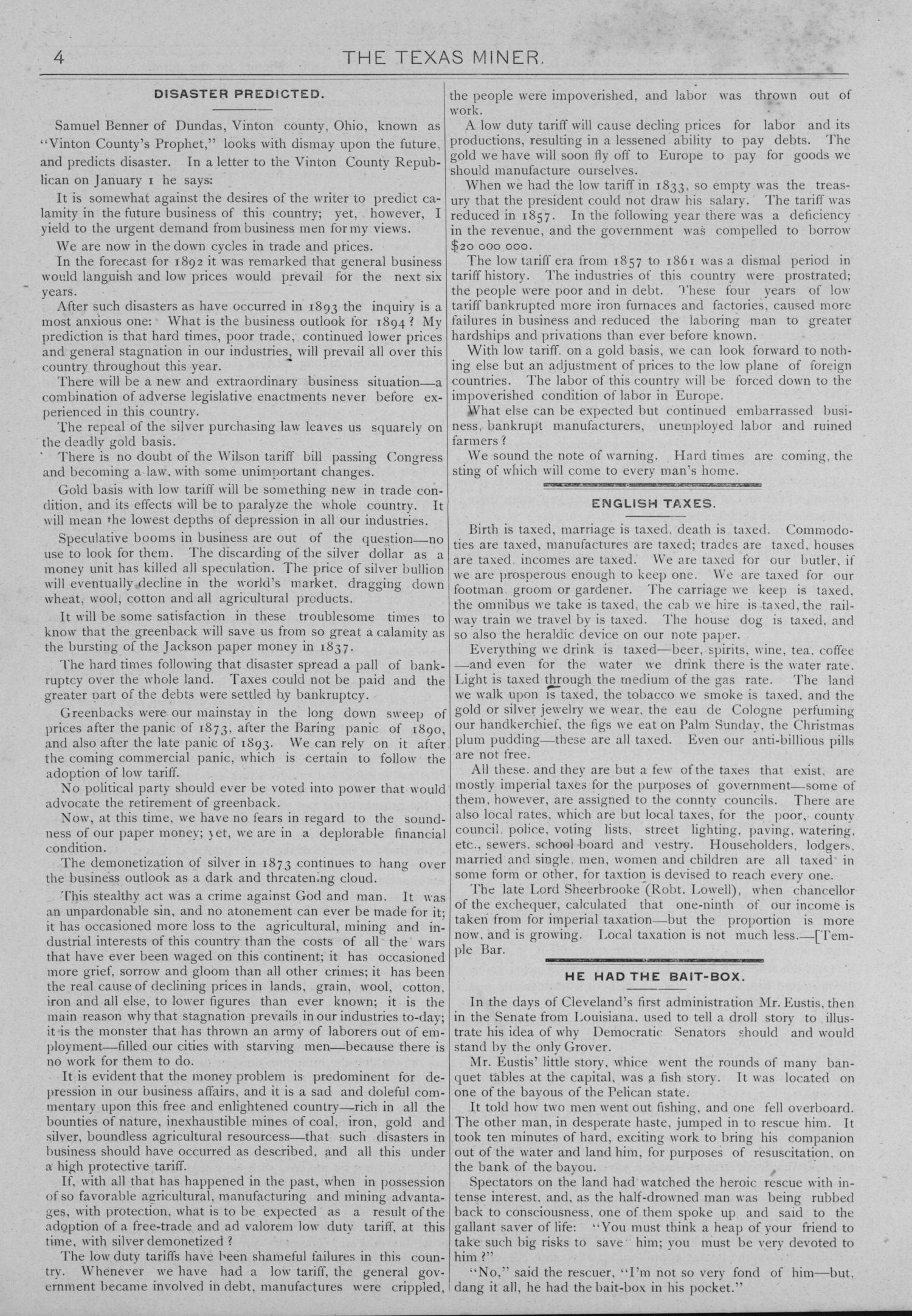 The Texas Miner, Volume 1, Number 8, March 10, 1894                                                                                                      4