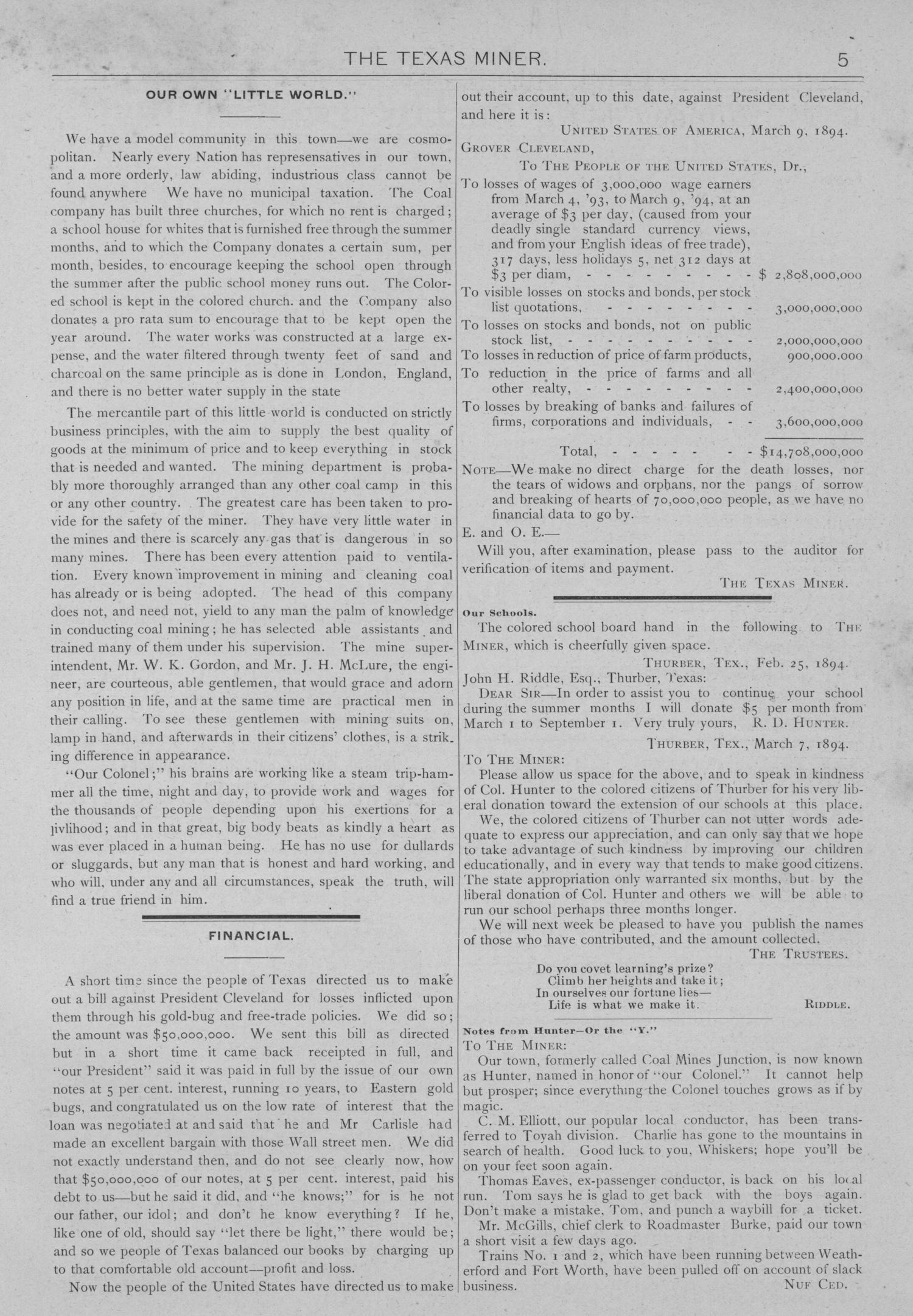 The Texas Miner, Volume 1, Number 8, March 10, 1894                                                                                                      5