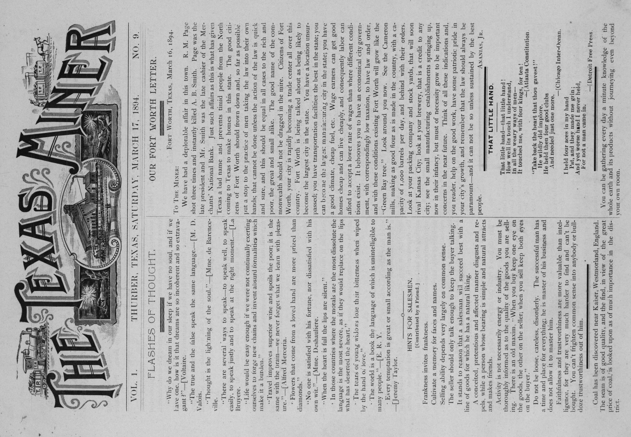 The Texas Miner, Volume 1, Number 9, March 17, 1894                                                                                                      1