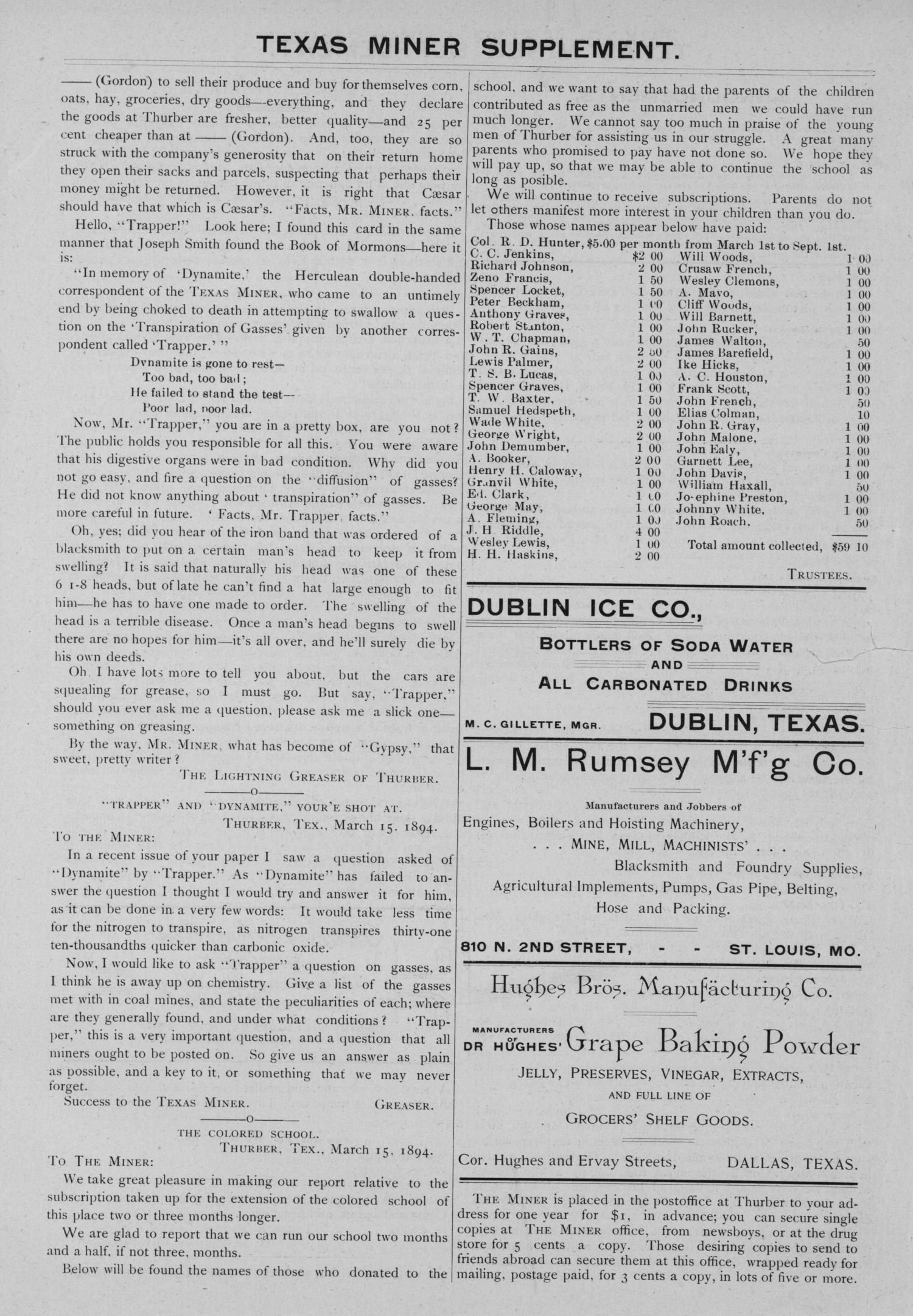 The Texas Miner, Volume 1, Number 9, March 17, 1894                                                                                                      3