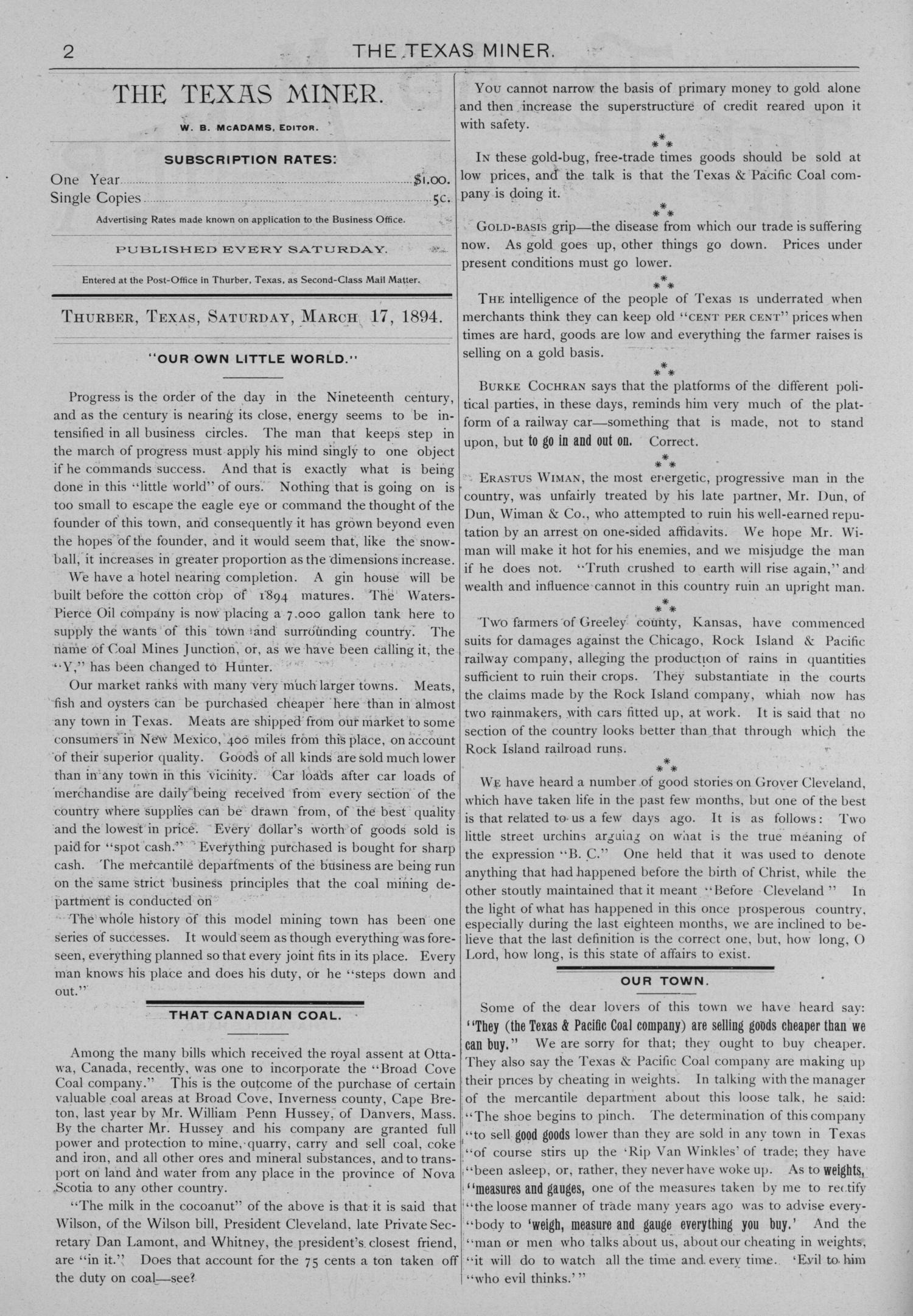 The Texas Miner, Volume 1, Number 9, March 17, 1894                                                                                                      2