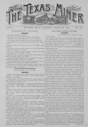Primary view of object titled 'The Texas Miner, Volume 1, Number 10, March 24, 1894'.
