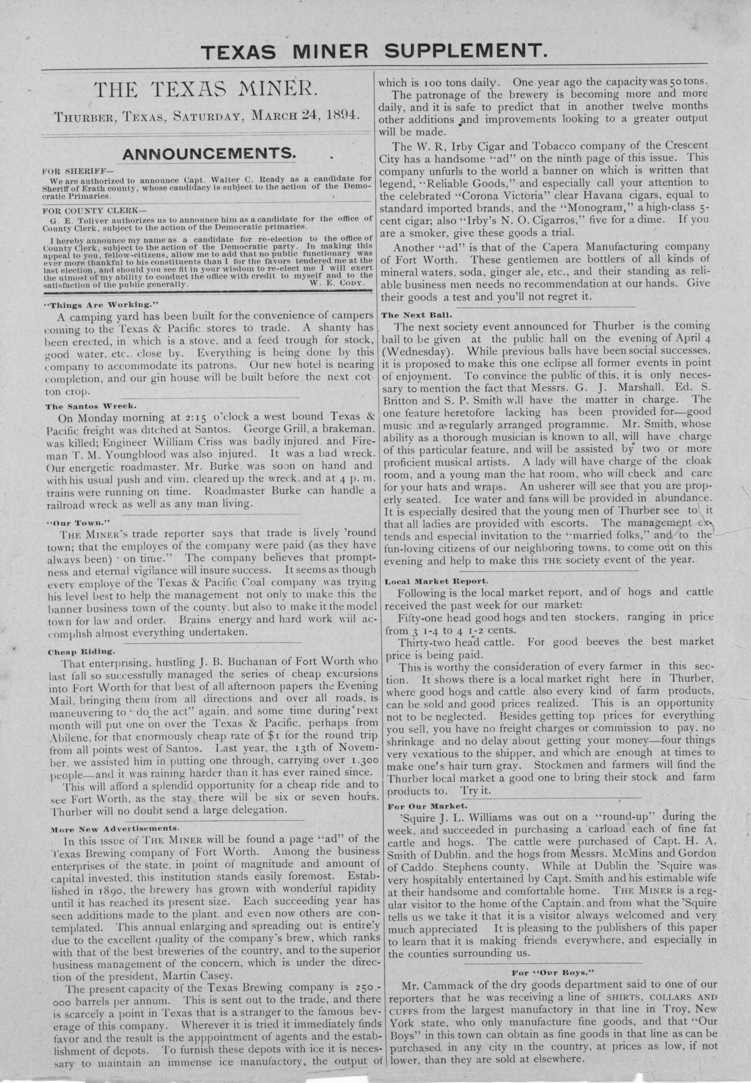 The Texas Miner, Volume 1, Number 10, March 24, 1894                                                                                                      None