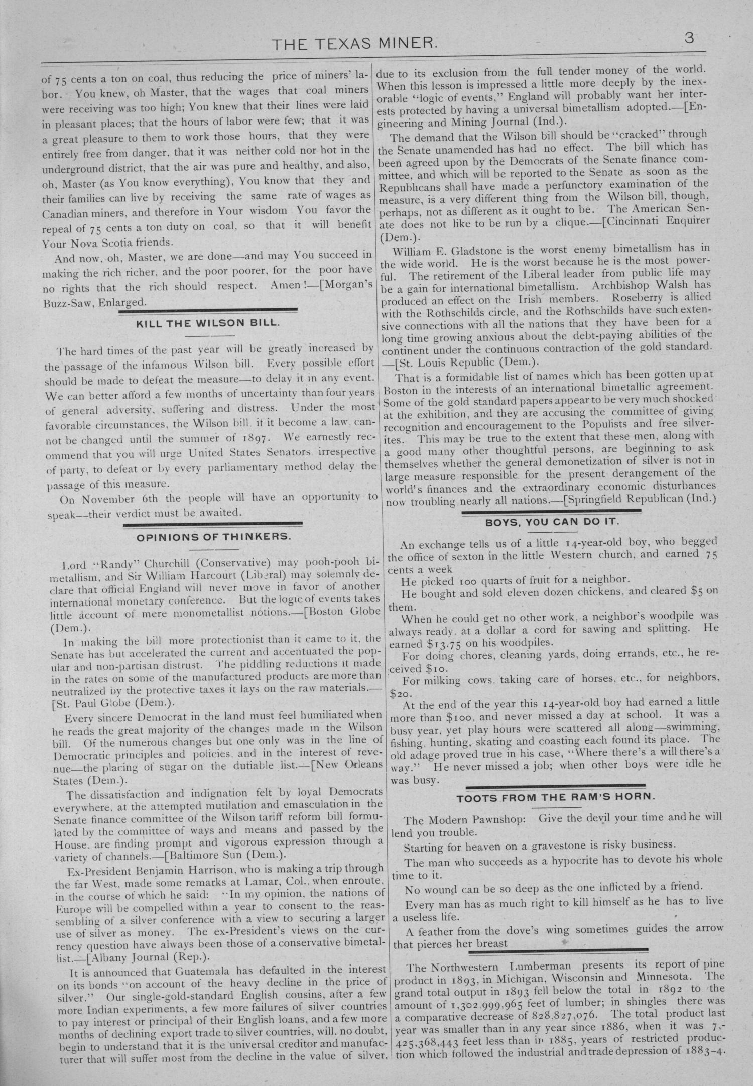 The Texas Miner, Volume 1, Number 10, March 24, 1894                                                                                                      3