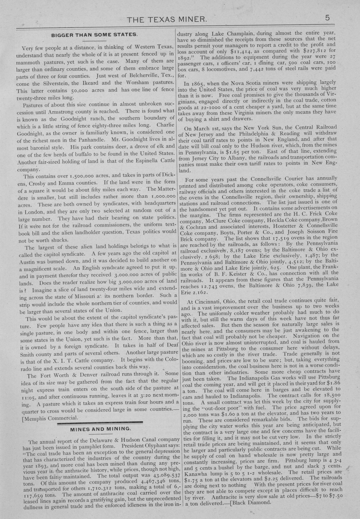 The Texas Miner, Volume 1, Number 10, March 24, 1894                                                                                                      5