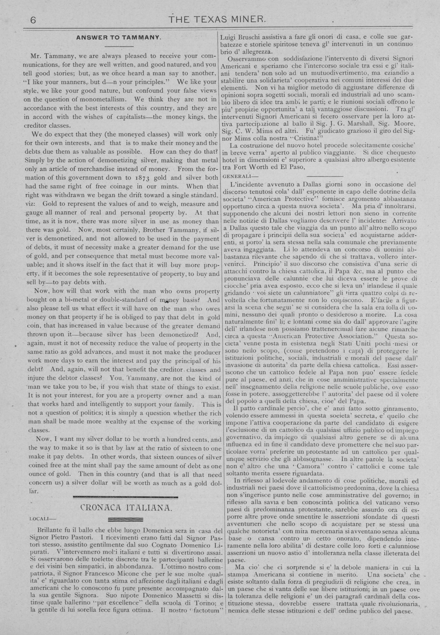 The Texas Miner, Volume 1, Number 10, March 24, 1894                                                                                                      6