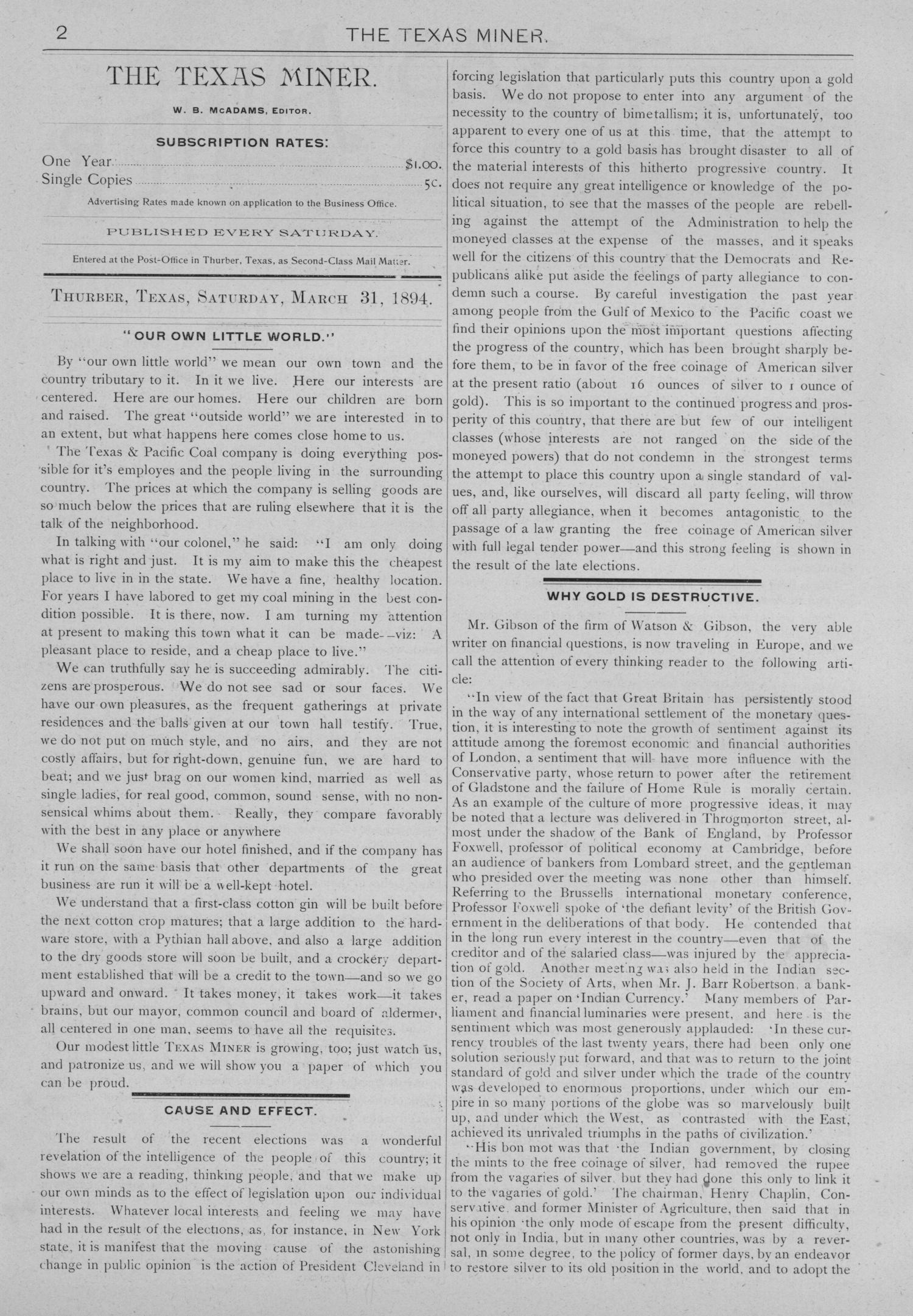 The Texas Miner, Volume 1, Number 11, March 31, 1894                                                                                                      2