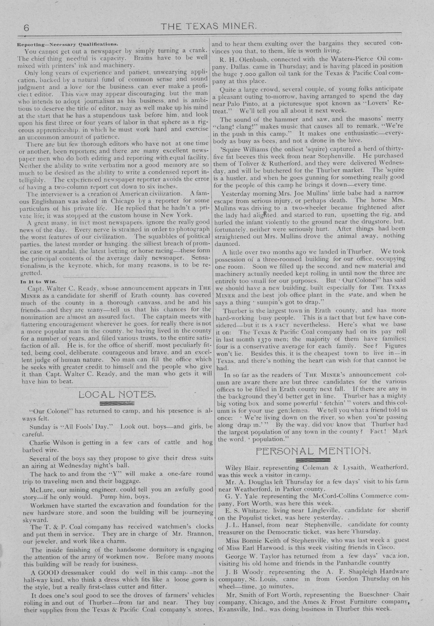 The Texas Miner, Volume 1, Number 11, March 31, 1894                                                                                                      6