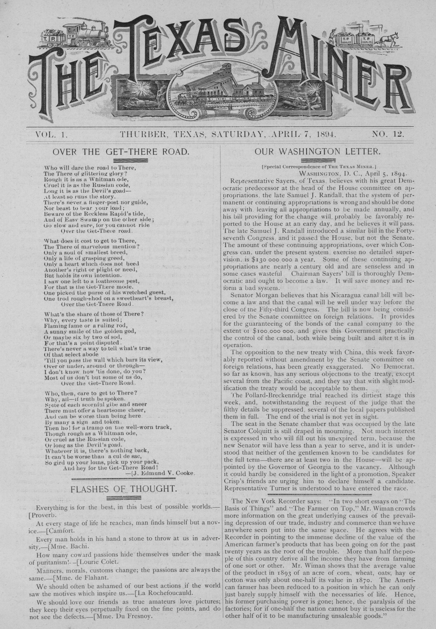 The Texas Miner, Volume 1, Number 12, April 7, 1894                                                                                                      1