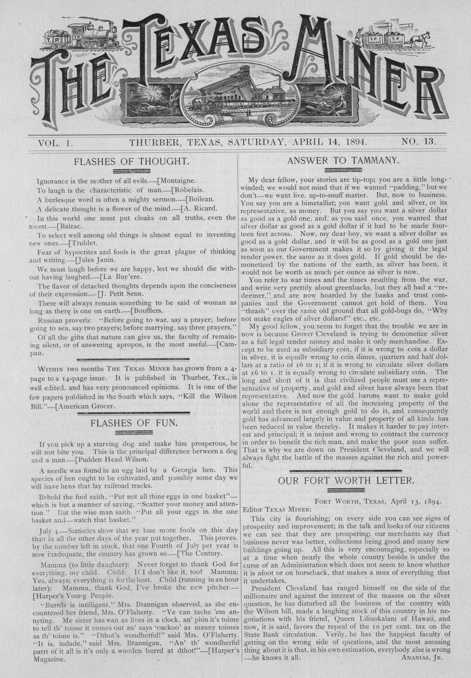 The Texas Miner, Volume 1, Number 13, April 14, 1894                                                                                                      1