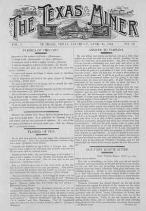 The Texas Miner, Volume 1, Number 13, April 14, 1894