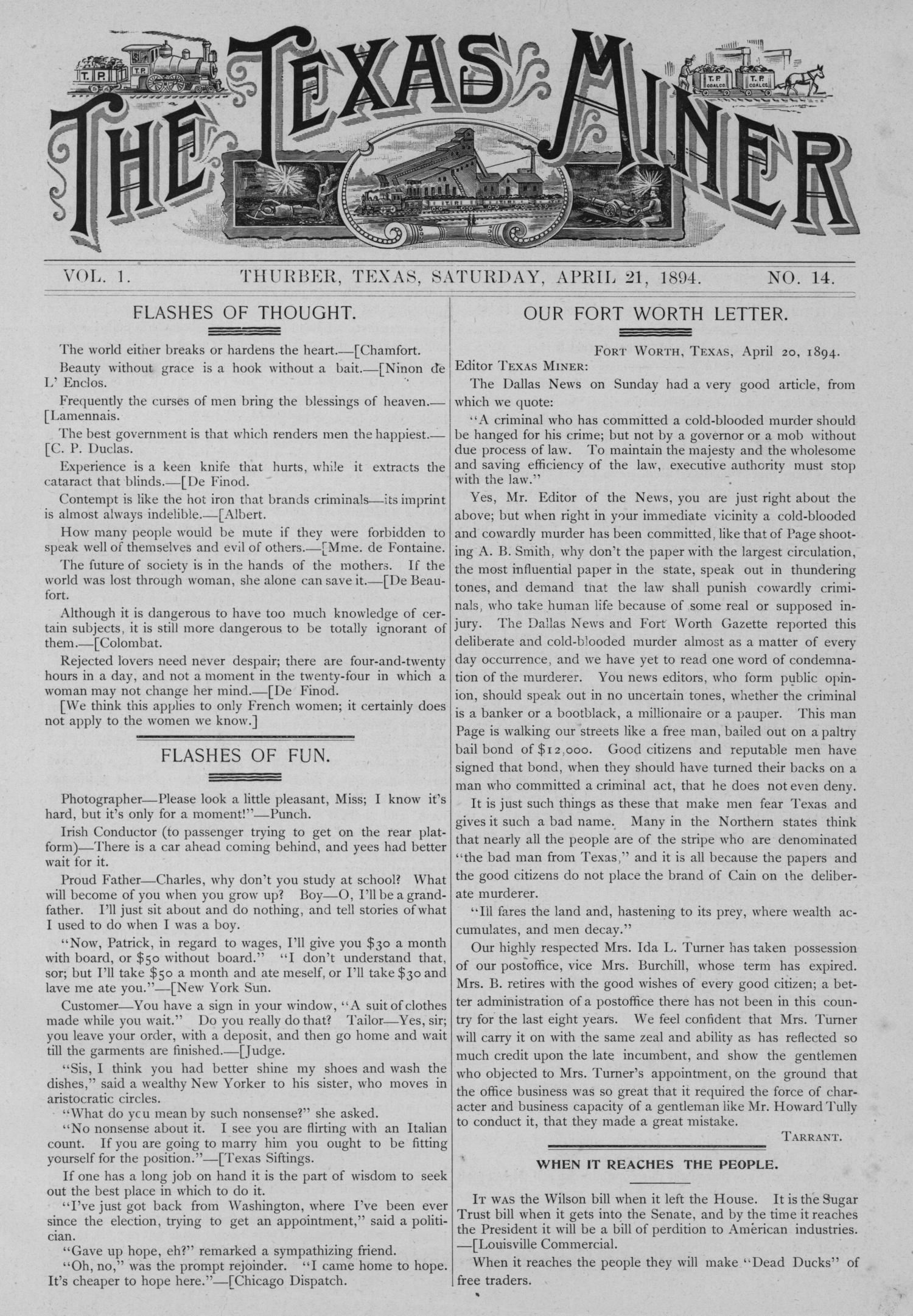 The Texas Miner, Volume 1, Number 14, April 21, 1894                                                                                                      1