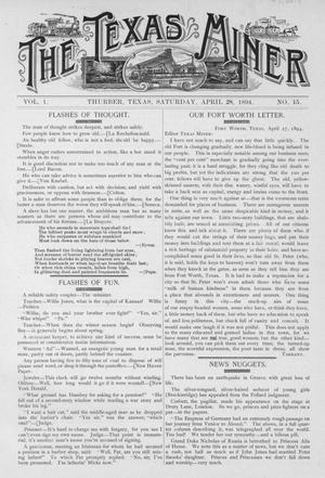 Primary view of object titled 'The Texas Miner, Volume 1, Number 15, April 28, 1894'.