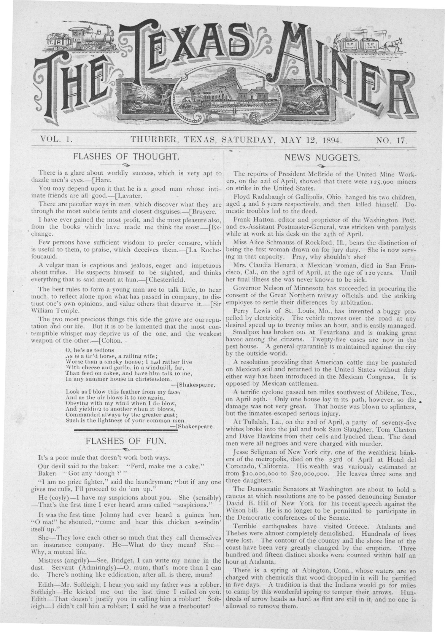 The Texas Miner, Volume 1, Number 17, May 12, 1894                                                                                                      1