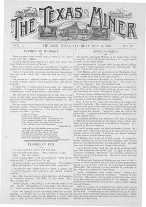 Primary view of object titled 'The Texas Miner, Volume 1, Number 17, May 12, 1894'.