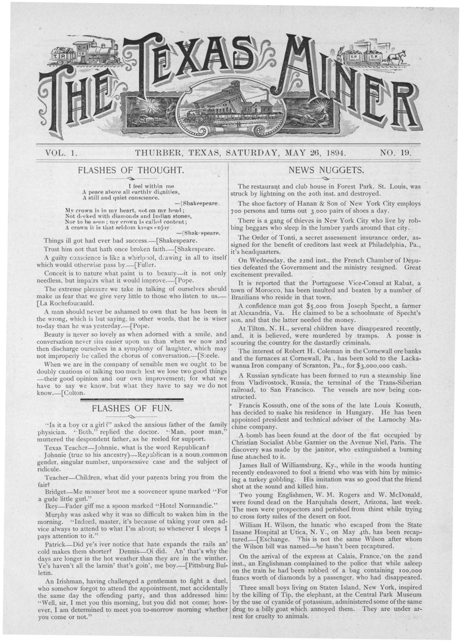 The Texas Miner, Volume 1, Number 19, May 26, 1894                                                                                                      1