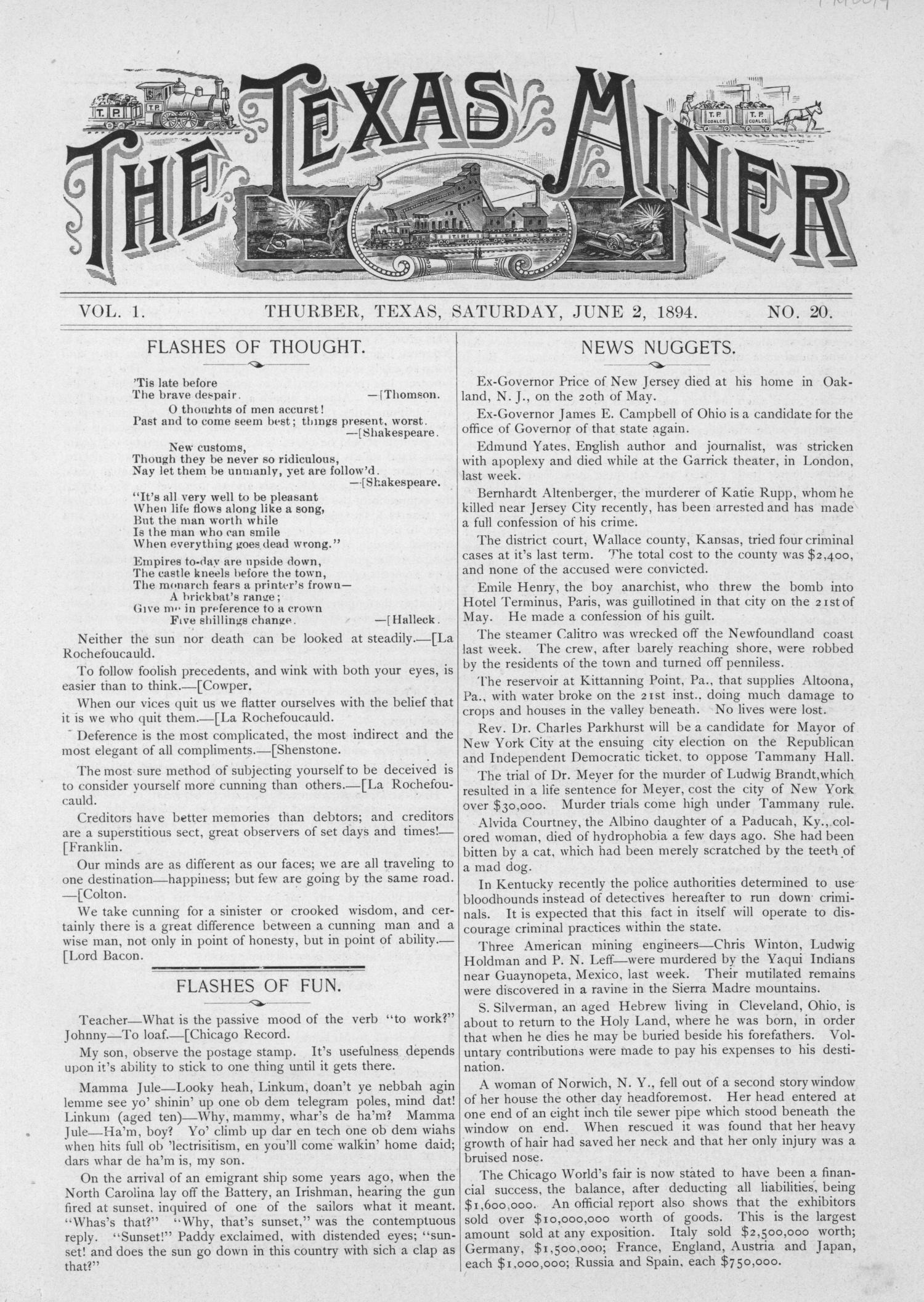 The Texas Miner, Volume 1, Number 20, June 2, 1894                                                                                                      1