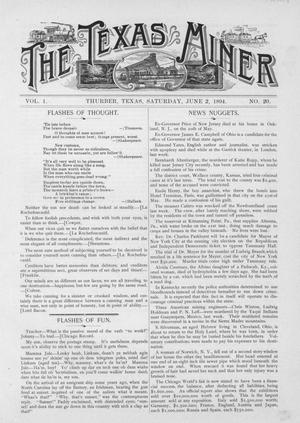 Primary view of object titled 'The Texas Miner, Volume 1, Number 20, June 2, 1894'.