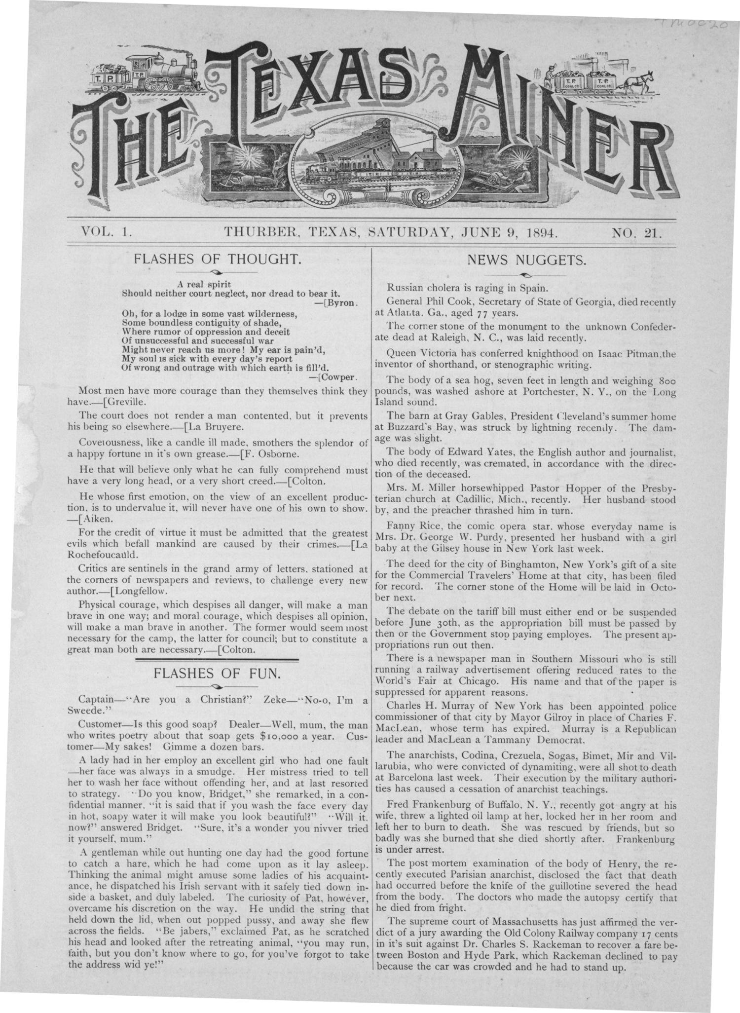 The Texas Miner, Volume 1, Number 21, June 9, 1894                                                                                                      1