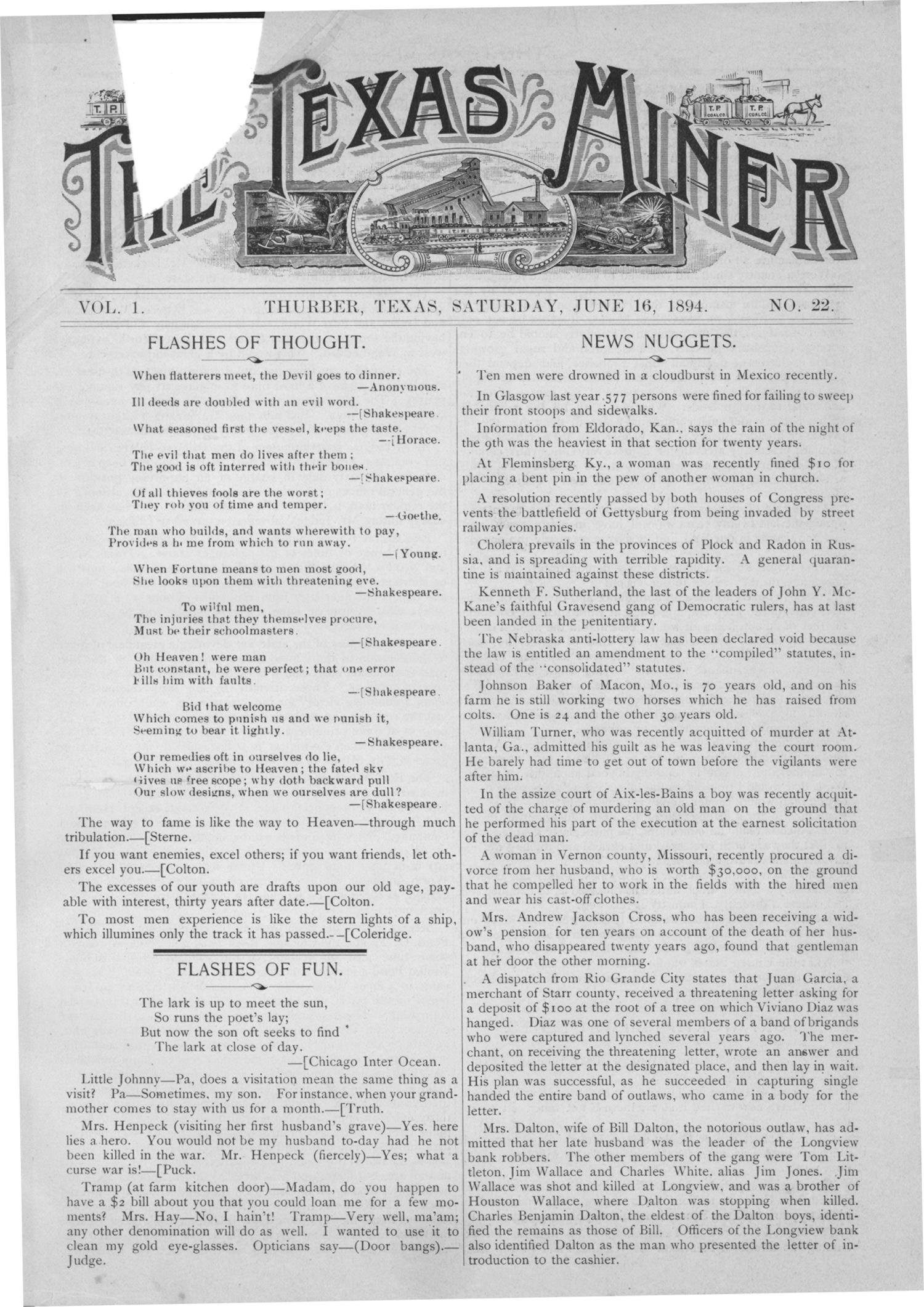 The Texas Miner, Volume 1, Number 22, June 16, 1894                                                                                                      1