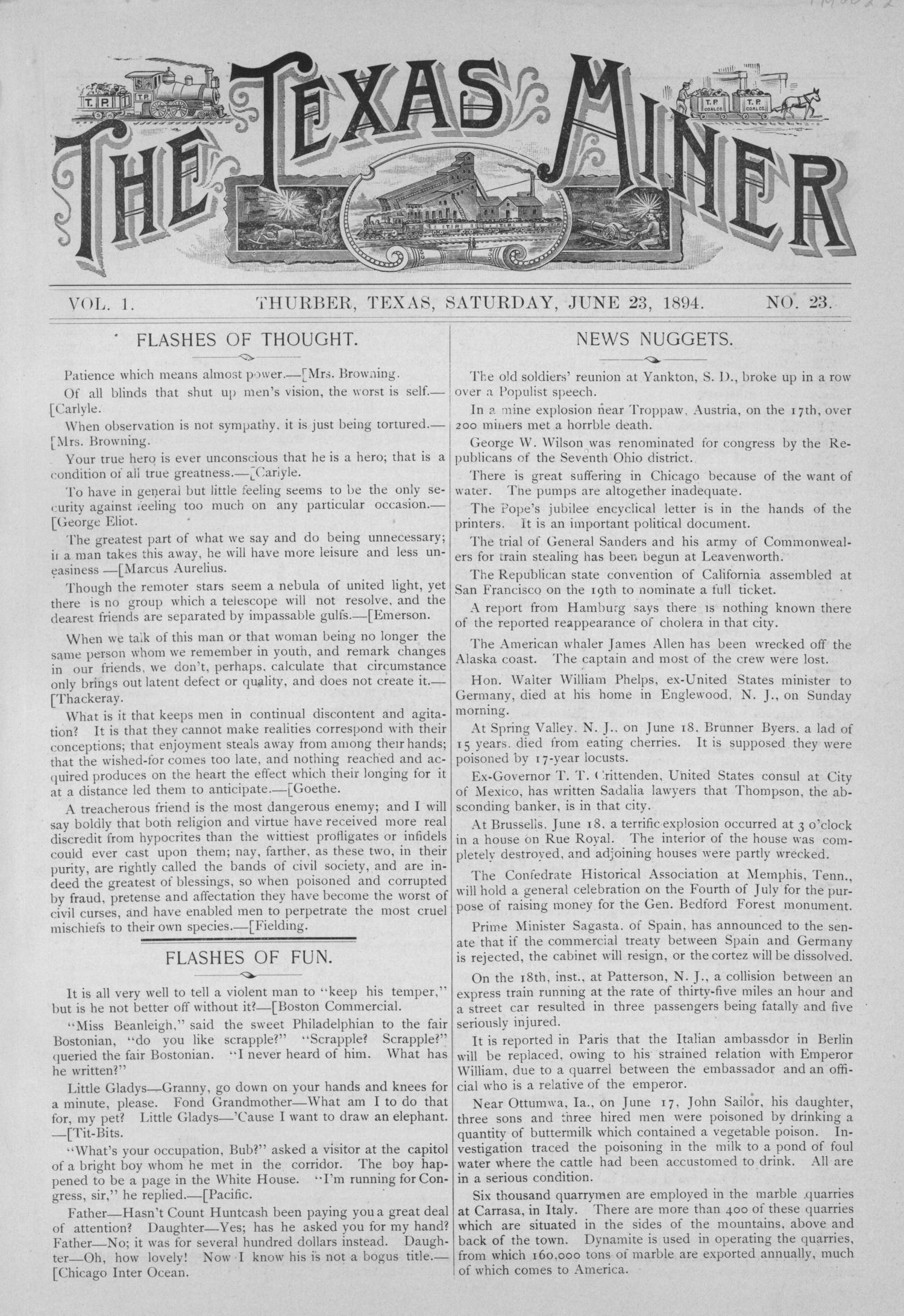 The Texas Miner, Volume 1, Number 23, June 23, 1894                                                                                                      1