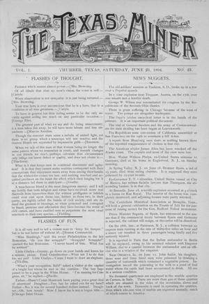 Primary view of object titled 'The Texas Miner, Volume 1, Number 23, June 23, 1894'.