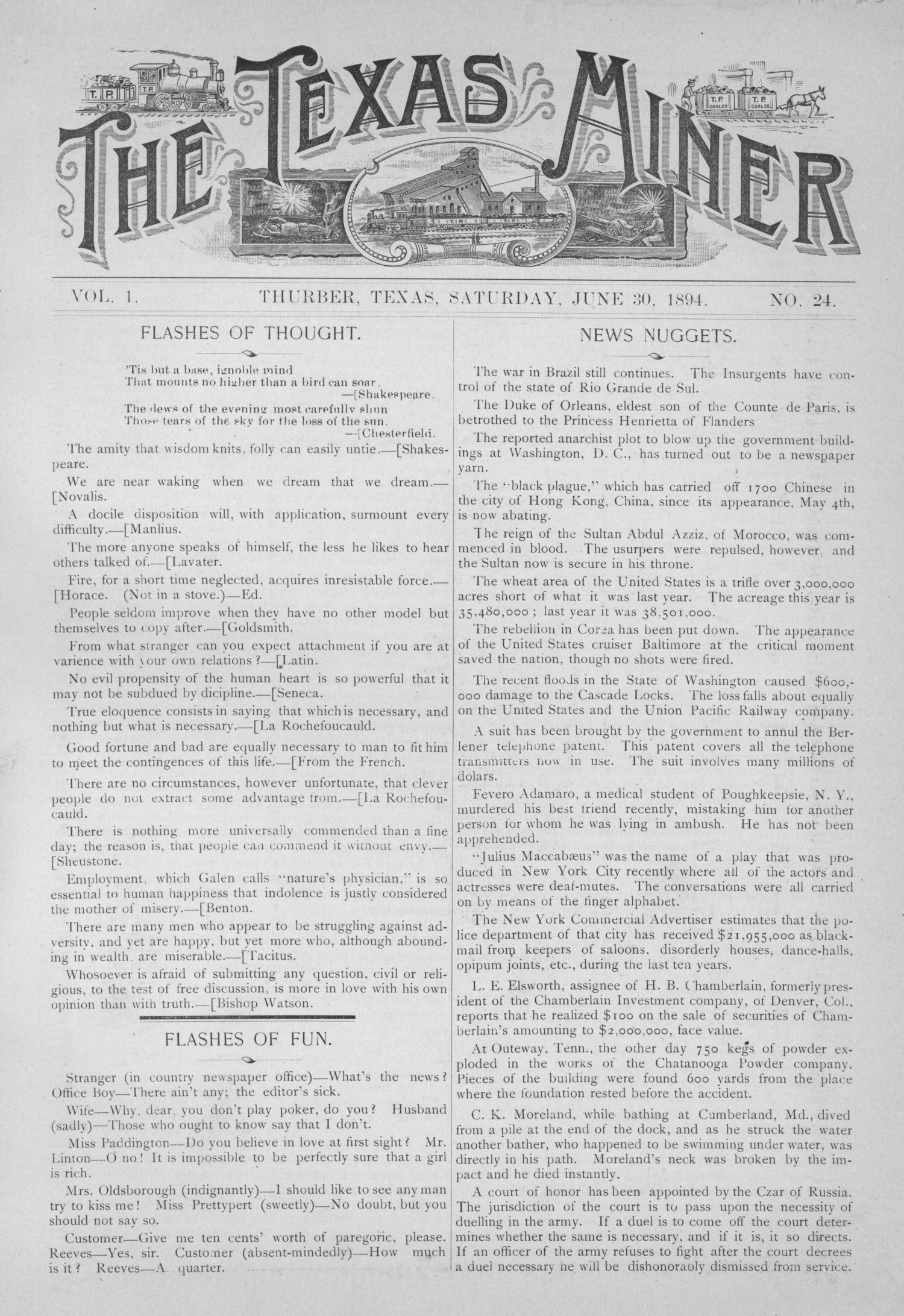 The Texas Miner, Volume 1, Number 24, June 30, 1894                                                                                                      1