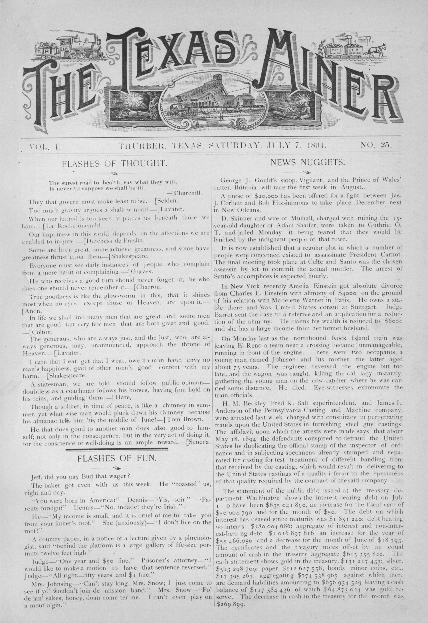 The Texas Miner, Volume 1, Number 25, July 7, 1894                                                                                                      1