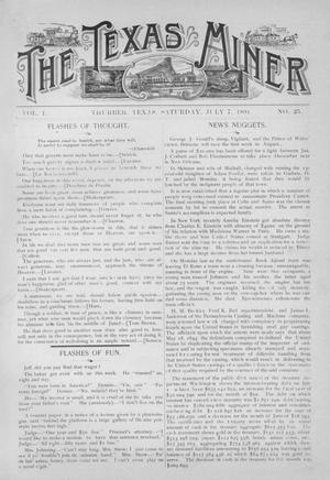 Primary view of object titled 'The Texas Miner, Volume 1, Number 25, July 7, 1894'.