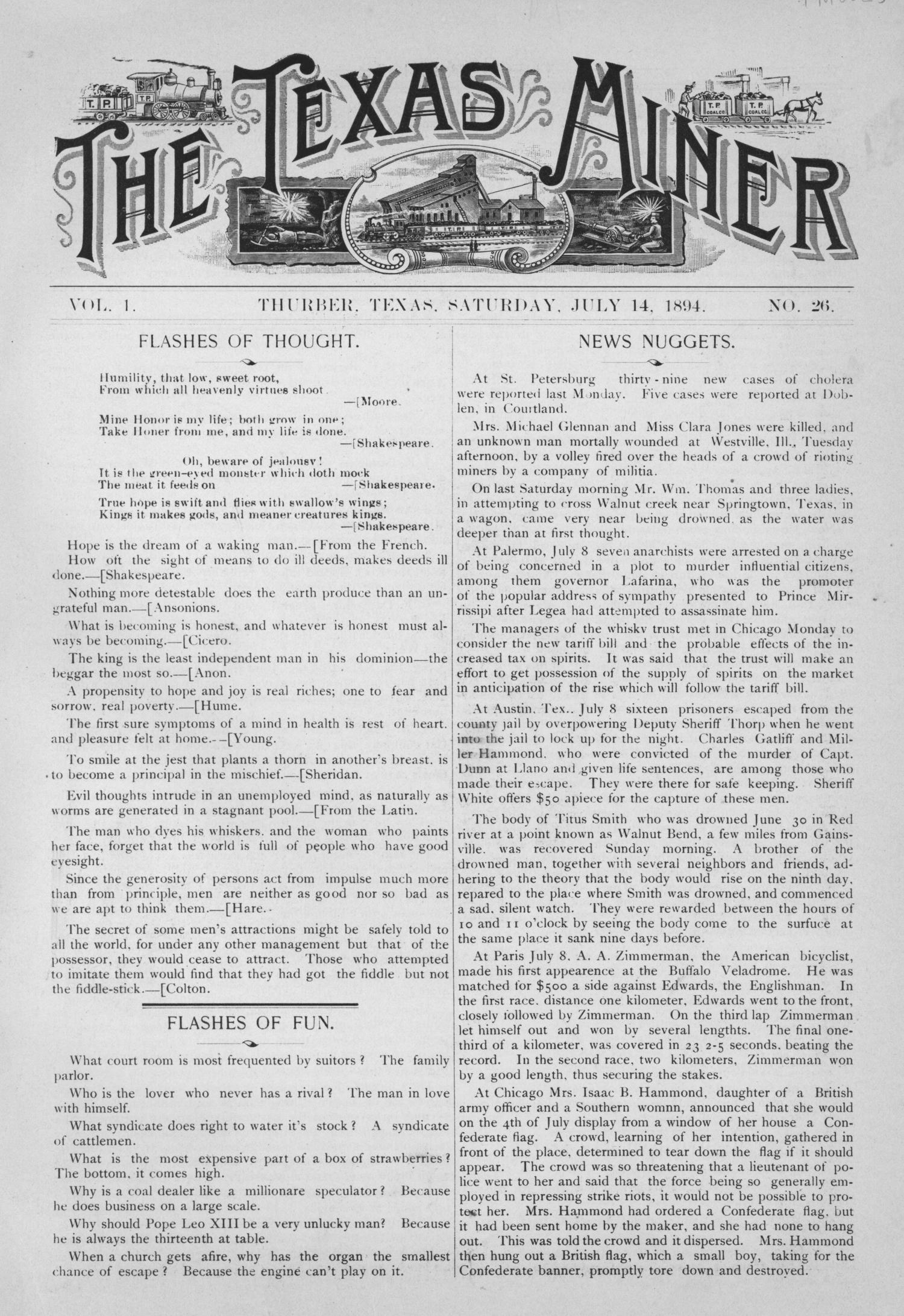 The Texas Miner, Volume 1, Number 26, July 14, 1894                                                                                                      1