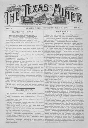 Primary view of object titled 'The Texas Miner, Volume 1, Number 27, July 21, 1894'.