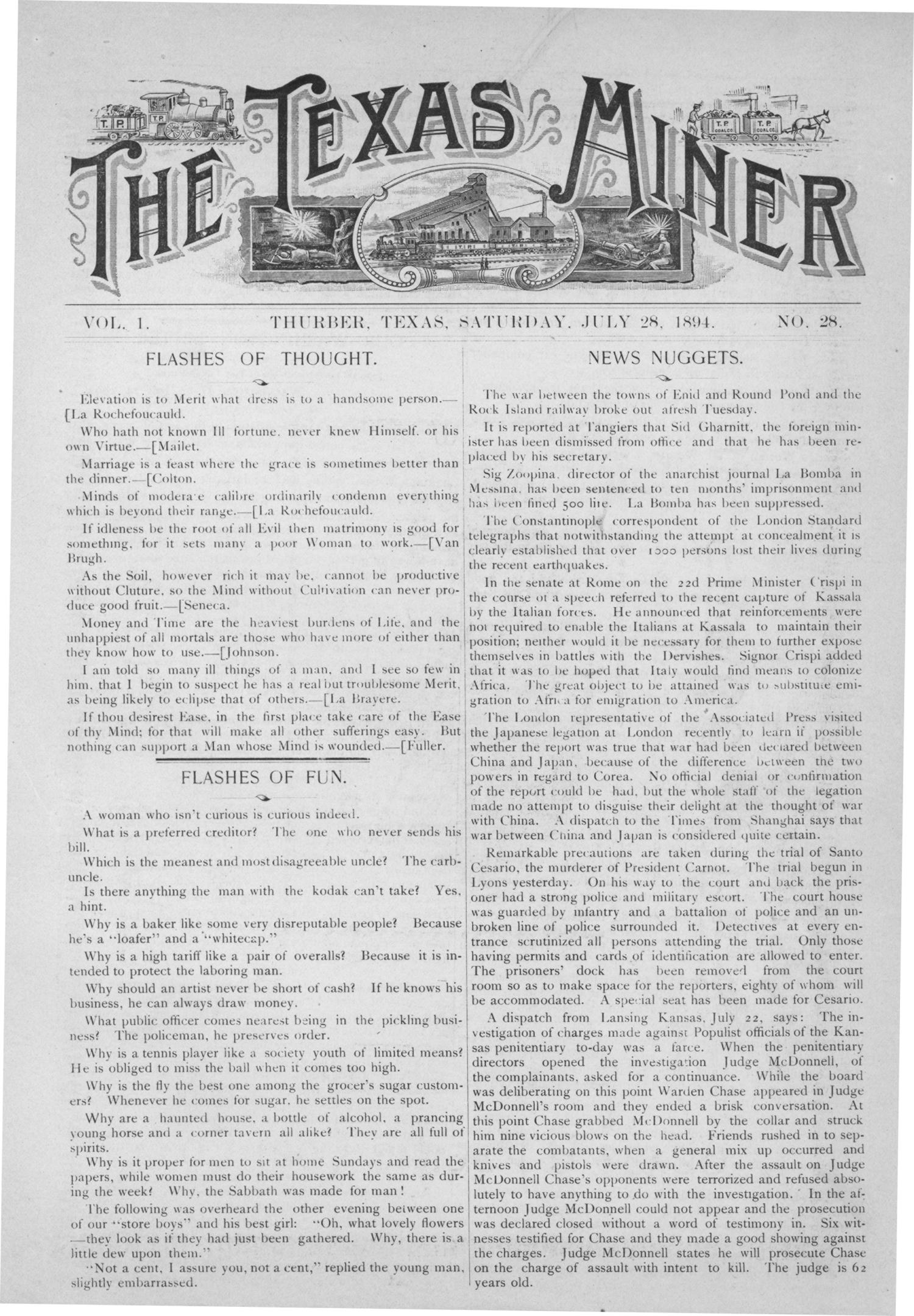 The Texas Miner, Volume 1, Number 28, July 28, 1894                                                                                                      1